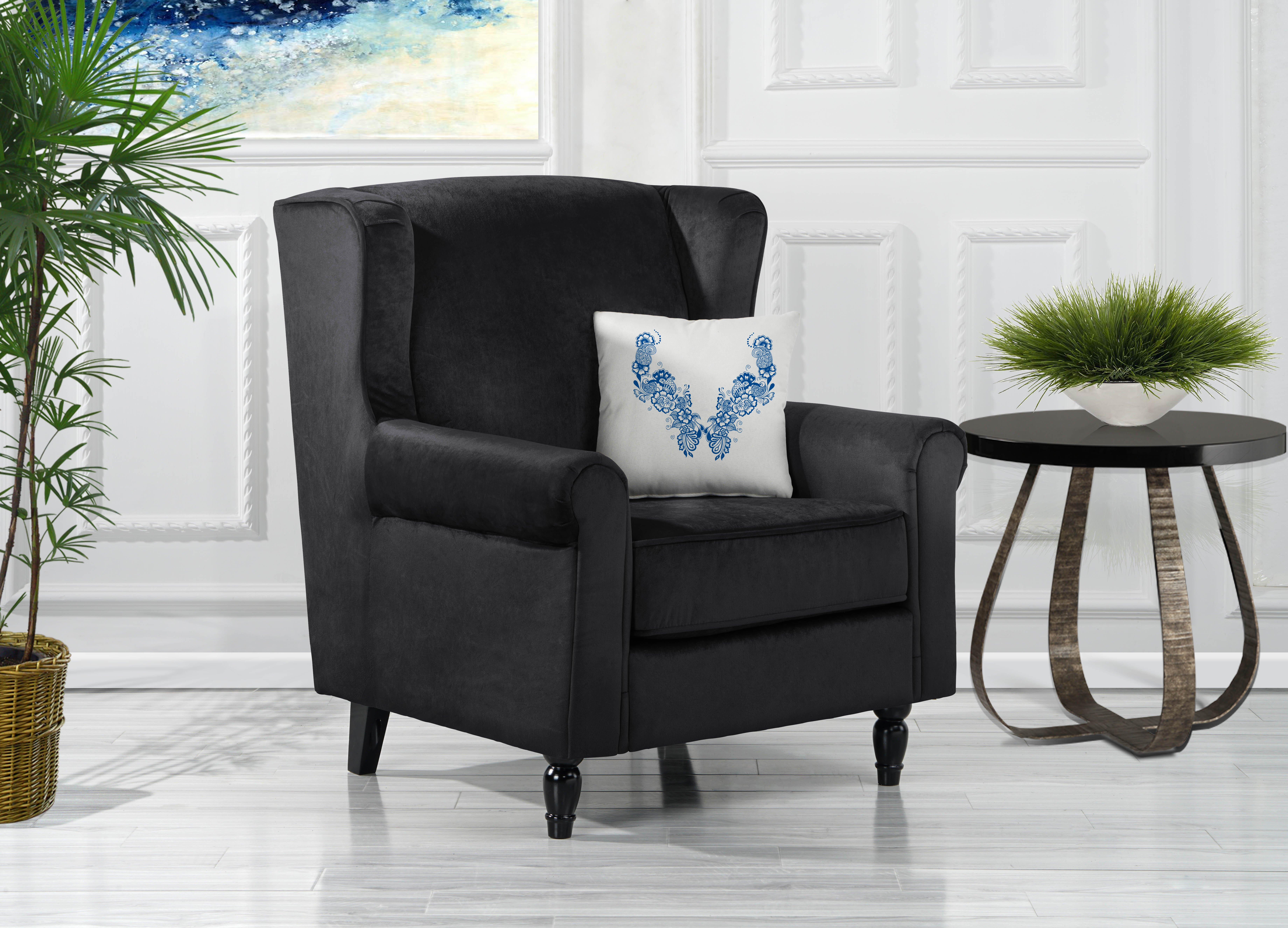 Contemporary Velvet Accent Chair Living Room Armchair with W