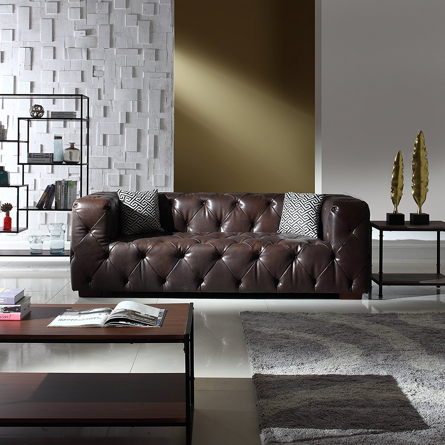 Large Tufted Real Italian Leather Chesterfield Sofa ...