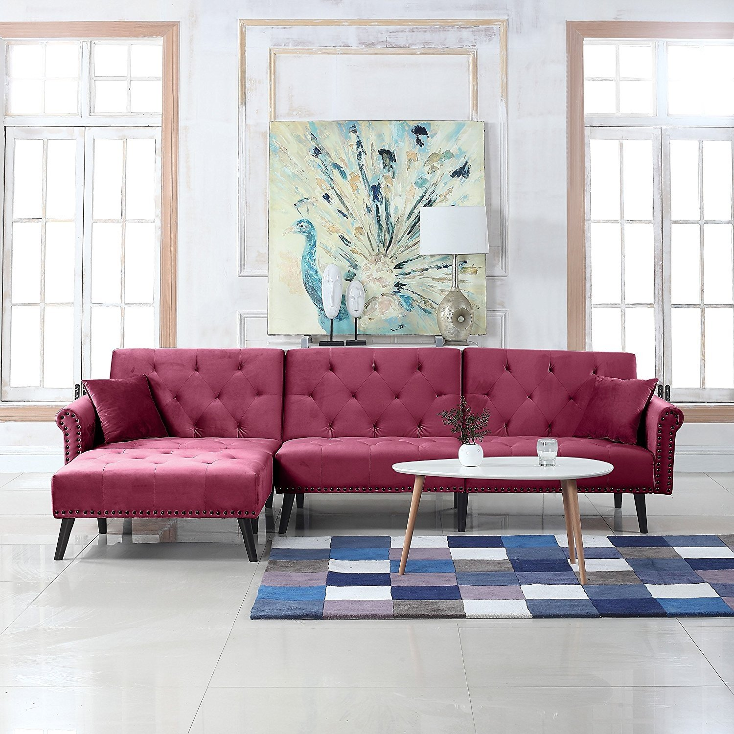 Details about Mid Century Style Velvet Sleeper Futon, Living Room L Shape  Sofa, Rose Red