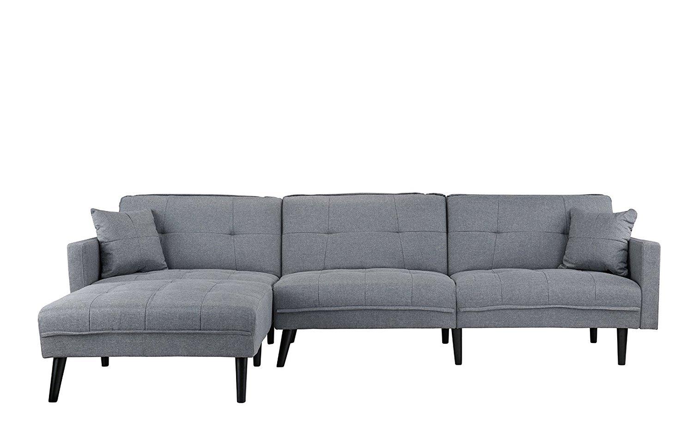 Mid Century Modern Style Linen Sofa Sleeper Futon Sofa L Shape