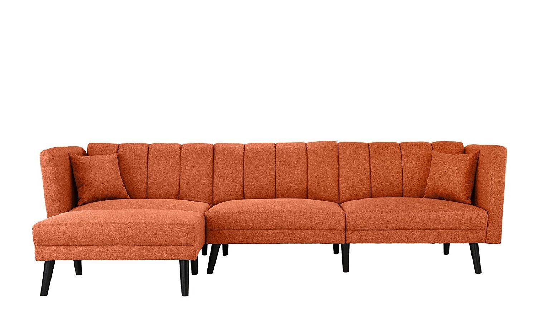 Mid Century Modern Fabric Sleeper Futon Sofa L Shape