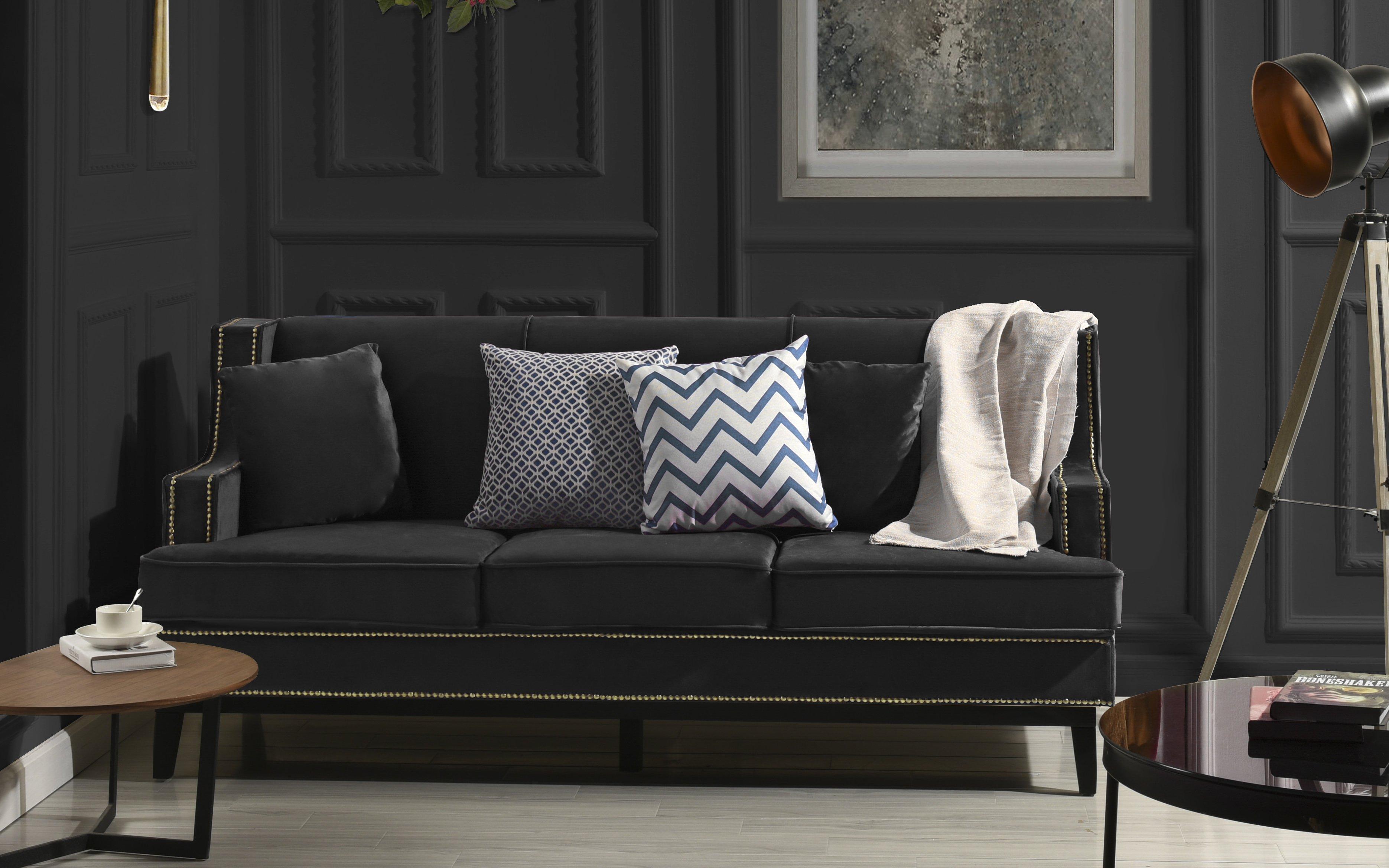 Black Modern Soft Velvet Sofa with Nailhead Trim Detail Victorian ...