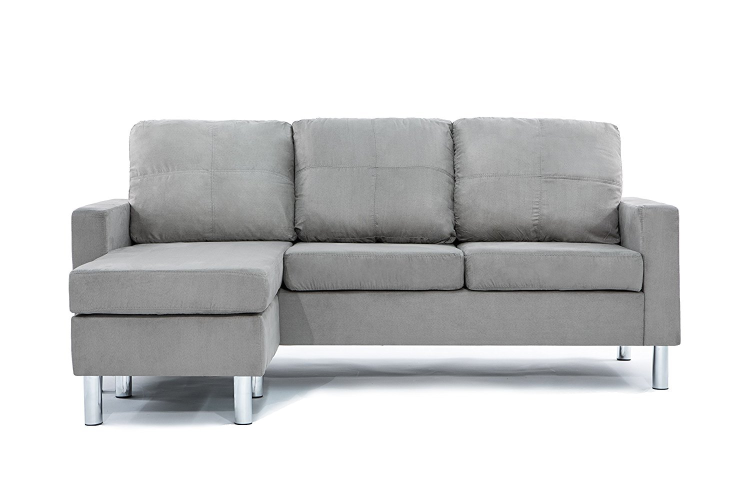 Details about Modern Microfiber Sectional Sofa - Small Space Configurable  (Grey)