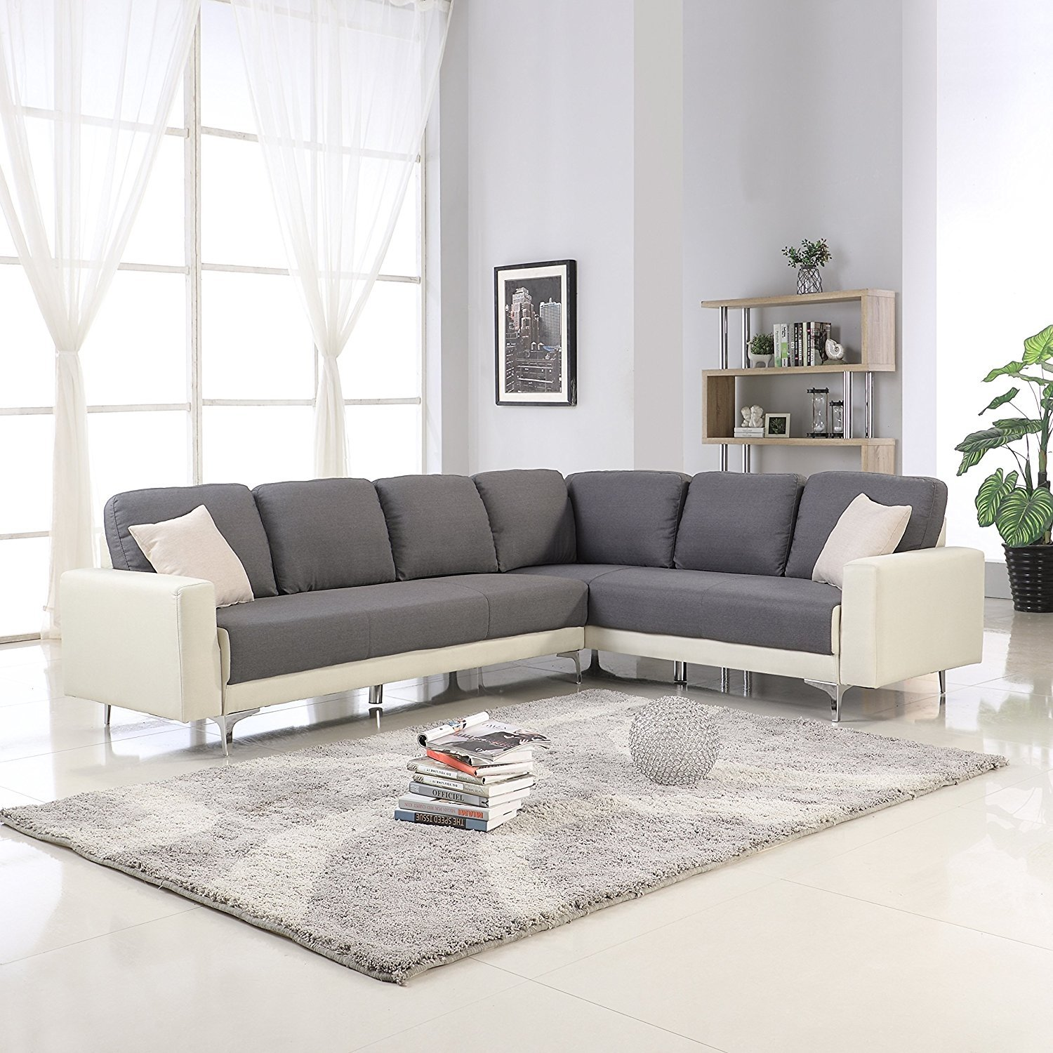 Details about Modern Dark Grey Beige Linen Upholstered L Shape Couch Large  Sectional Sofa