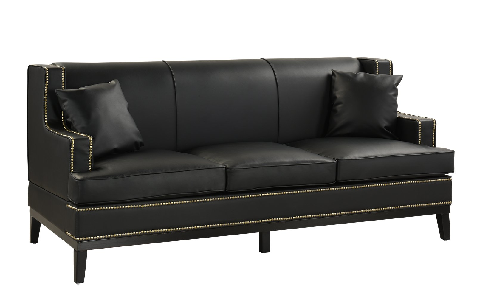 Details About Black Modern Bonded Leather Sofa With Nailhead Trim Detail, 2  Accent Pillows