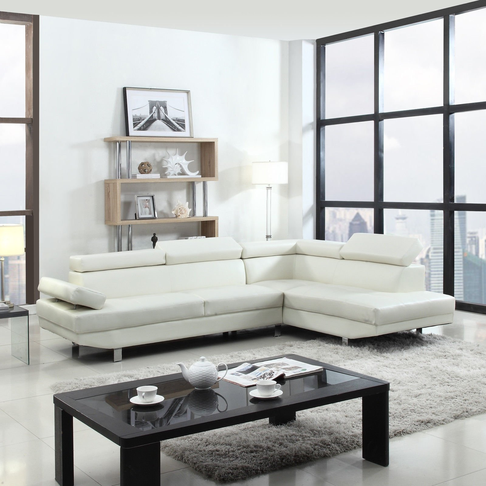 Details about Modern Contemporary White Faux Leather Sectional Sofa, Living  Room Set
