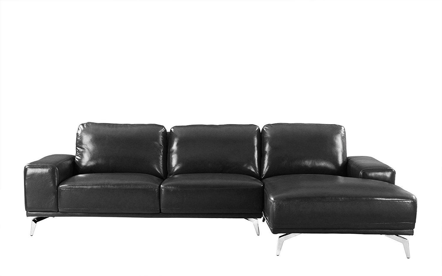 Modern Real Leather Sectional Sofa, L-Shape Right Chaise ...