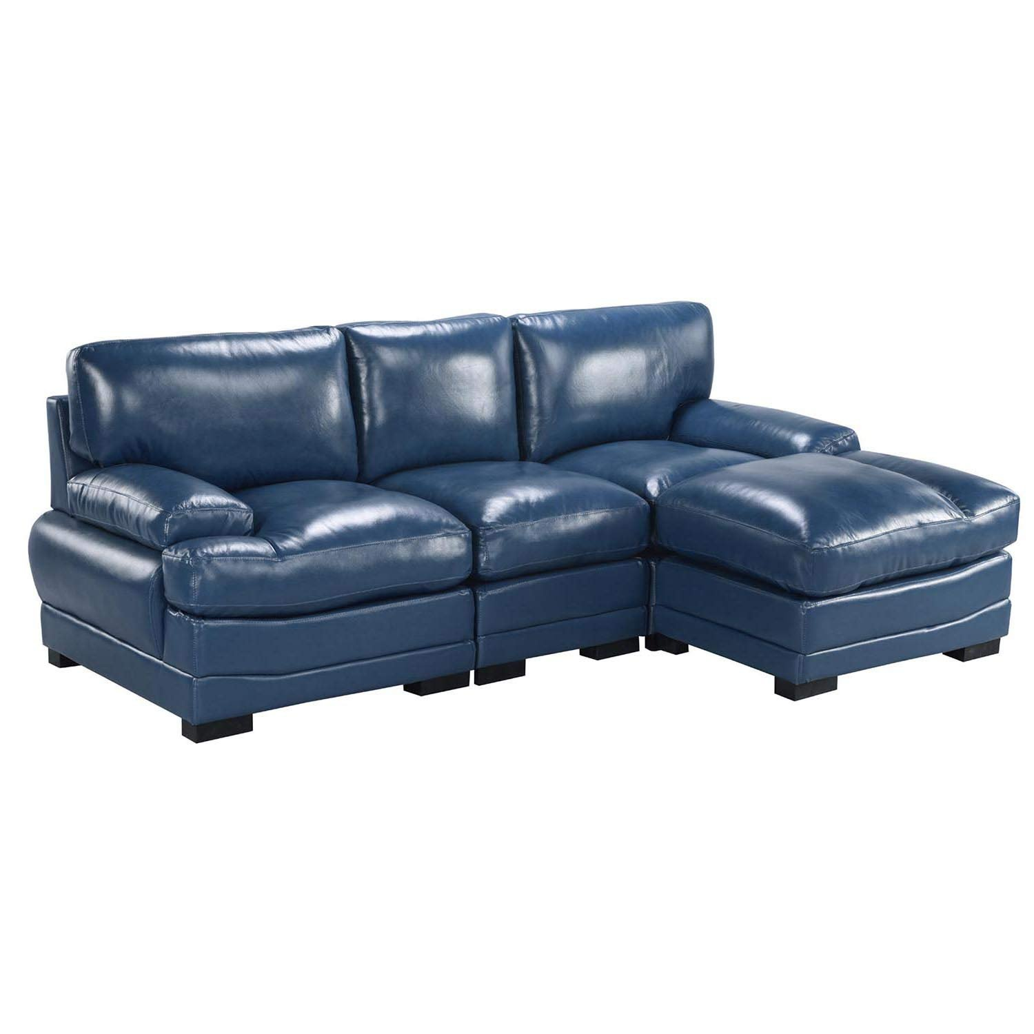 Details about Modern Right Facing Sectional Sofa Leather Match High Density  Seat Navy Blue