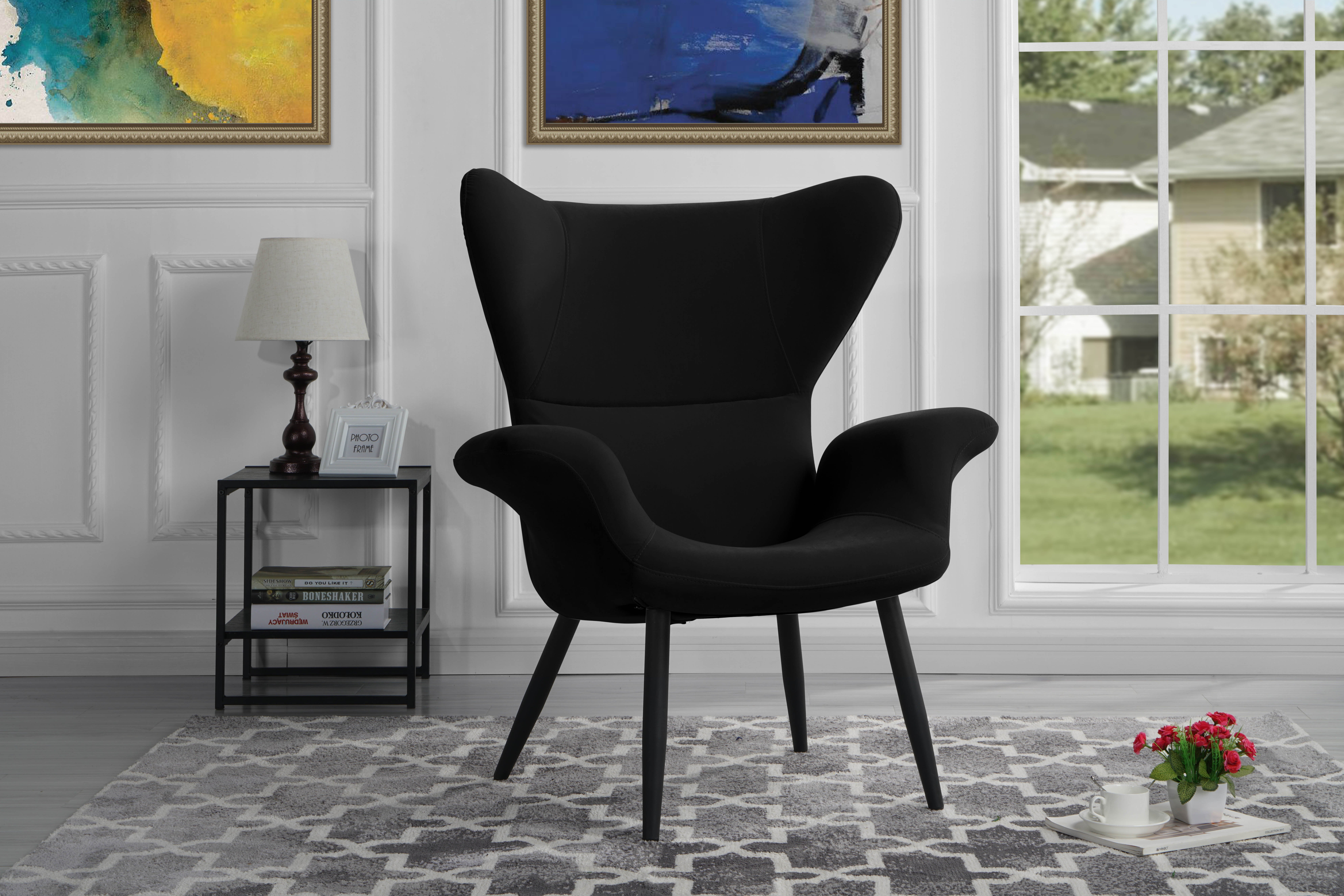 Details about Velvet Accent Armchair, Futuristic Style Living Room Accent  Chair (Black)