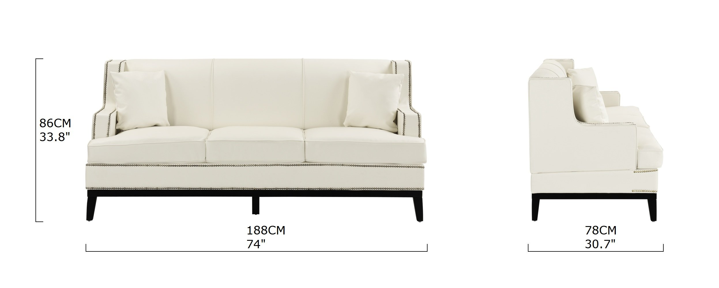 Sensational Details About White Contemporary Modern Bonded Leather Sofa With Nailhead Trim Wooden Frame Gamerscity Chair Design For Home Gamerscityorg