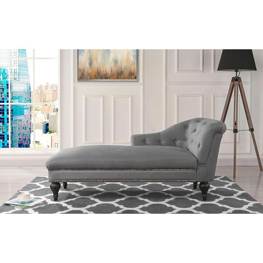 - Elegant Velvet Chaise Lounge Living Room Bedroom (Grey