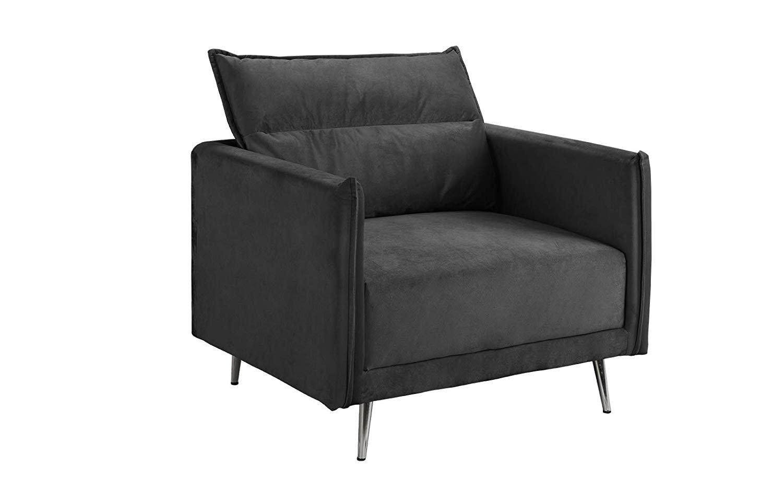 Fantastic Details About Mid Century 35 4 Inch Velvet Armchair Living Room Accent Chair Dark Grey Machost Co Dining Chair Design Ideas Machostcouk