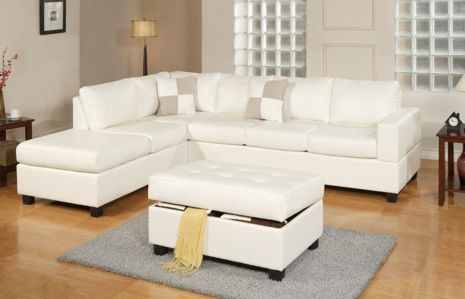 Bonded Leather White Modern Reversible Sectional Couch Sofa Chaise Ottoman