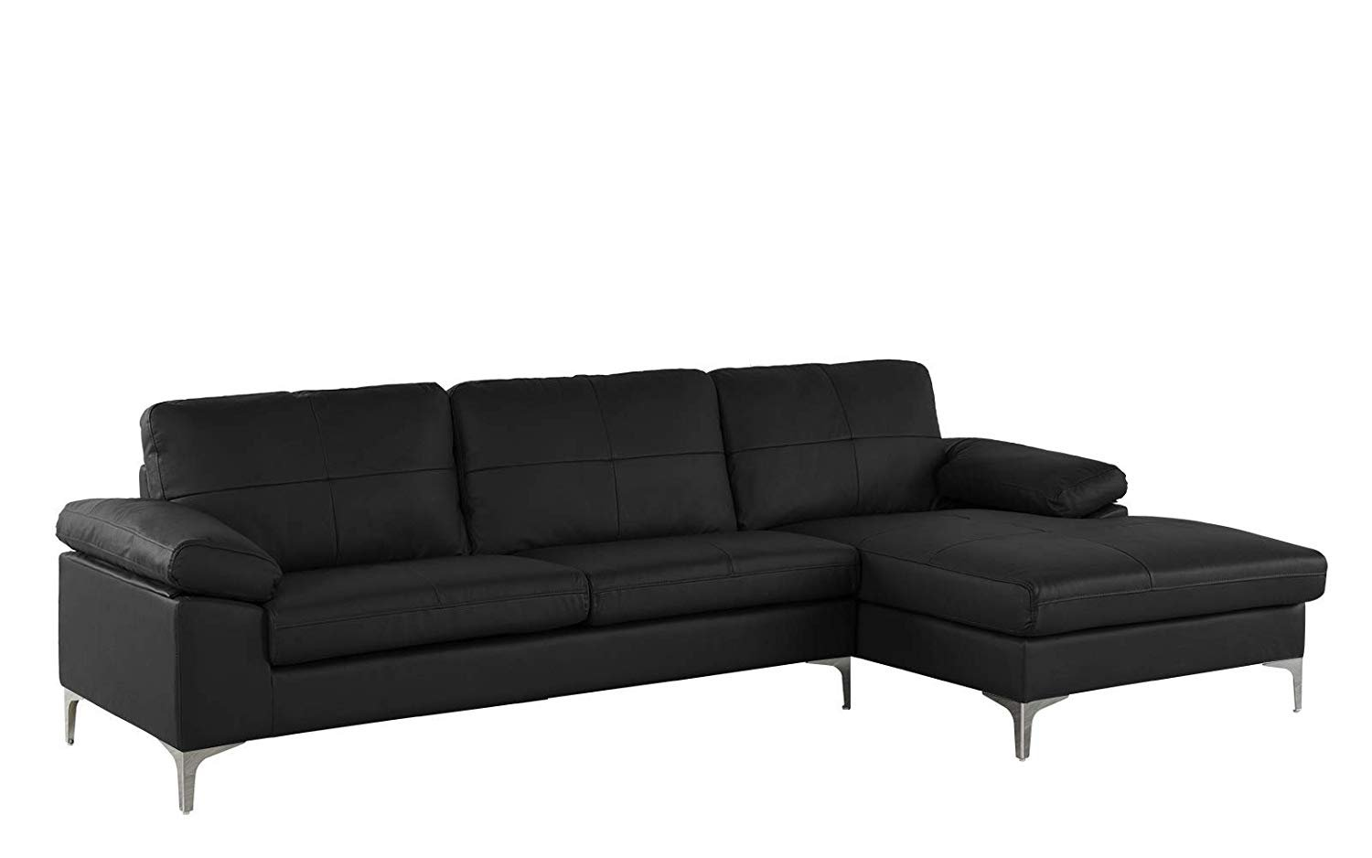 Details About Black Large Leather Sectional Sofa L Shape Couch With Chaise 108 7 W Inches