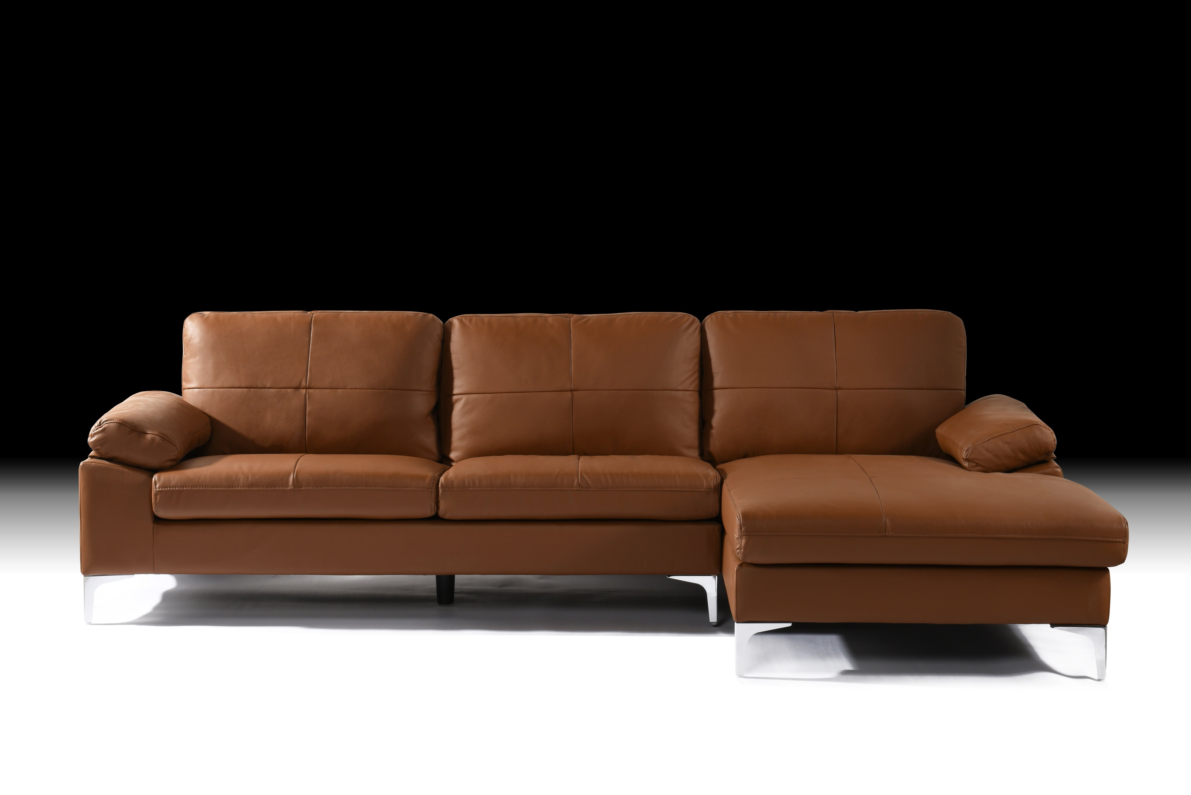 Camel Large Leather Sectional Sofa, L-Shape Couch with ...