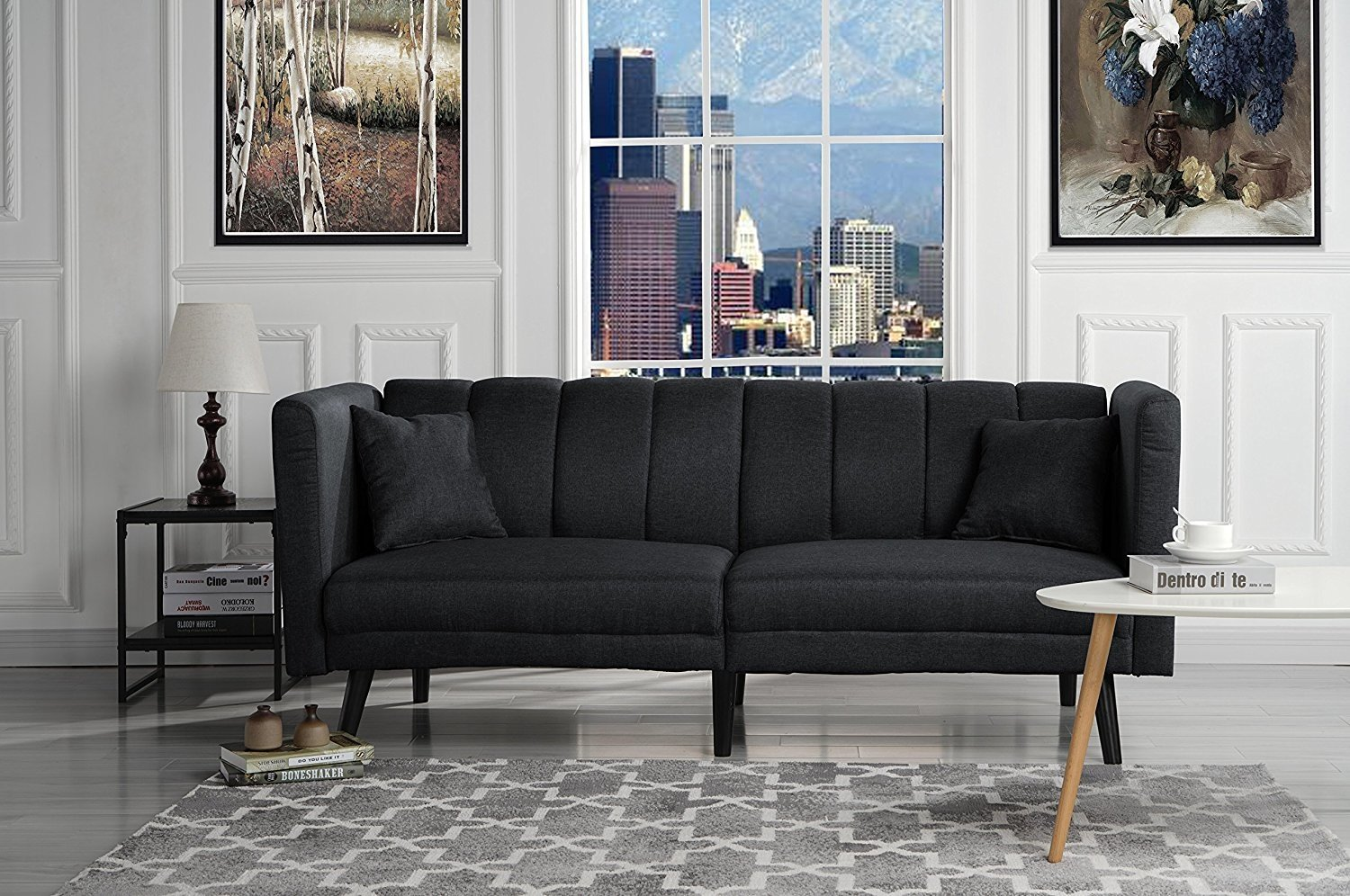 Details about modern furniture plush sofa tufted fabric living room sleeper futon black