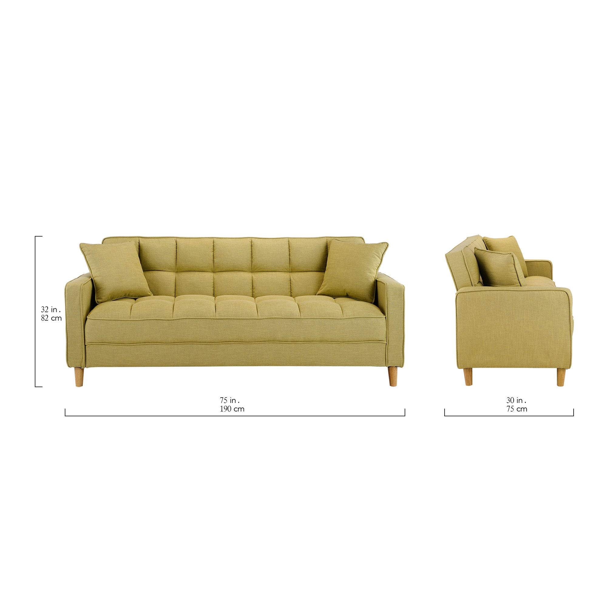 Enjoyable Details About Yellow Modern Linen Fabric Tufted Small Space Living Room Sofa Couch Inzonedesignstudio Interior Chair Design Inzonedesignstudiocom