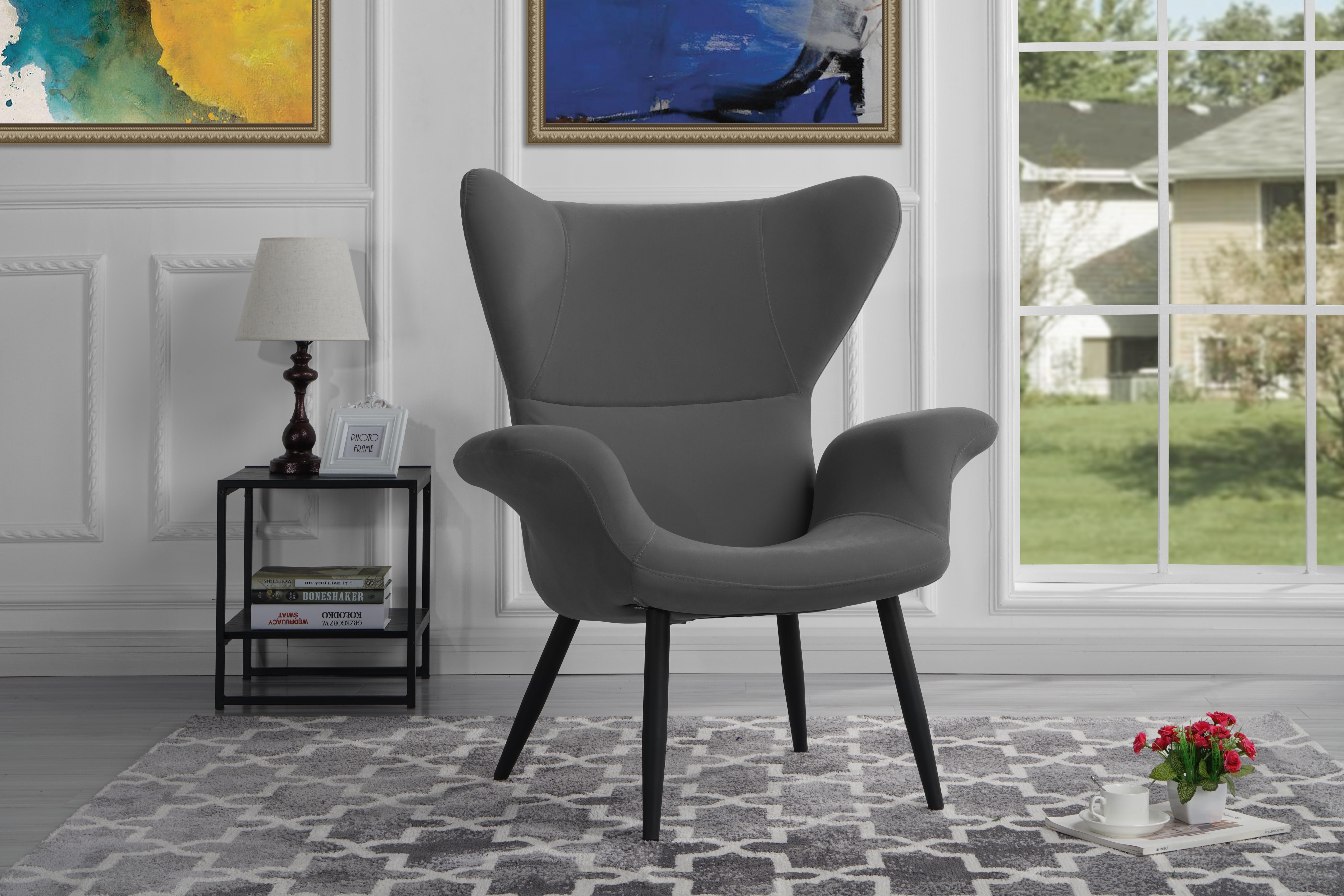 contemporary velvet accent armchair, futuristic style