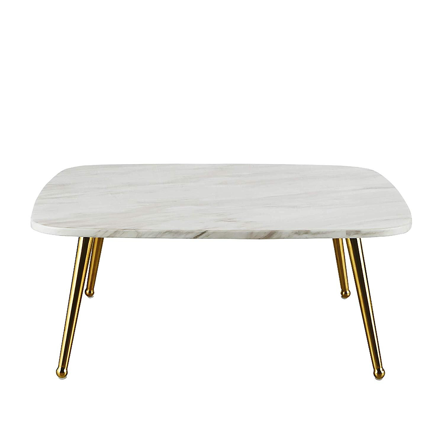 Modern Mid Century Coffee Table With Marble Print And Gold Legs
