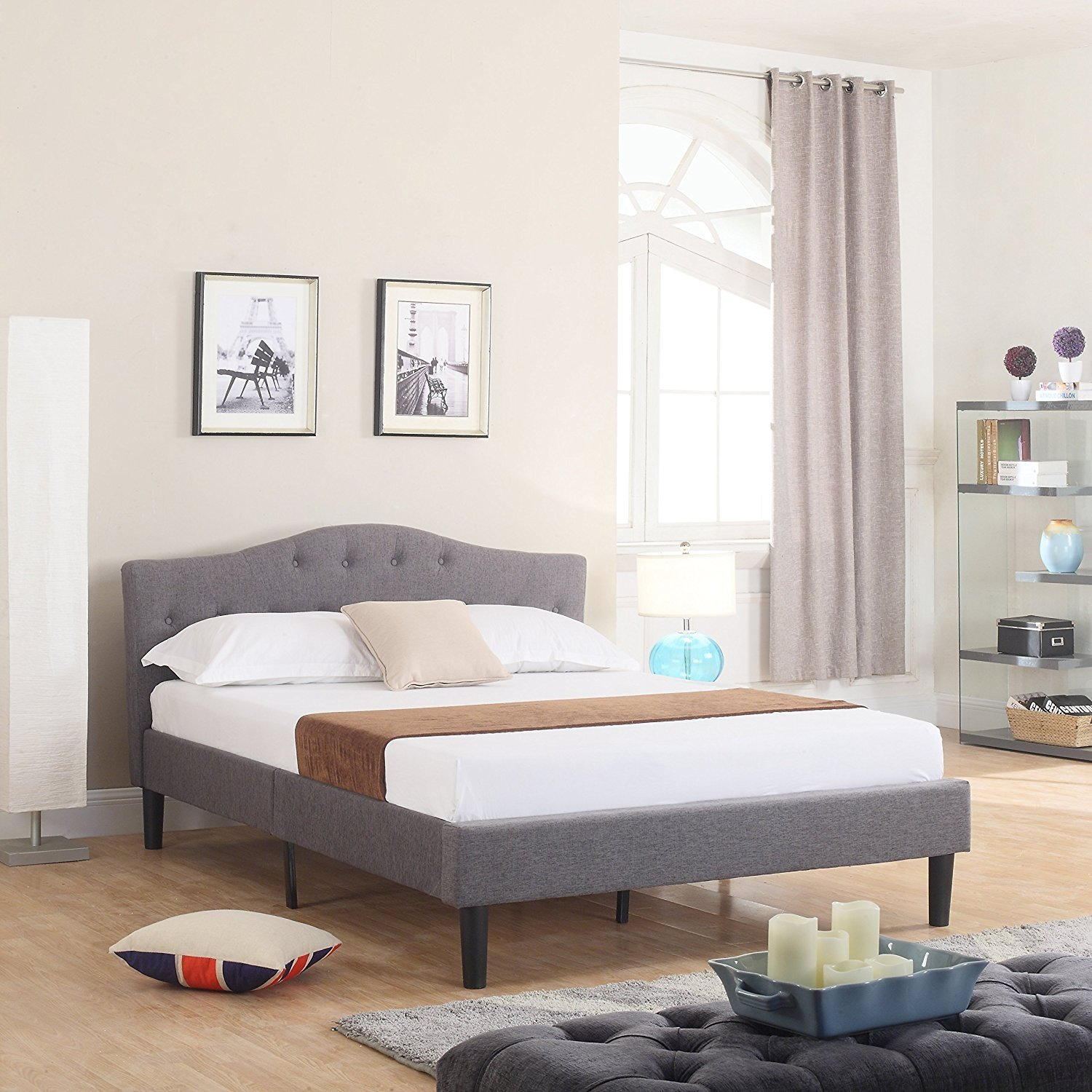 Classic Deluxe Linen Low Profile Platform Bed Frame