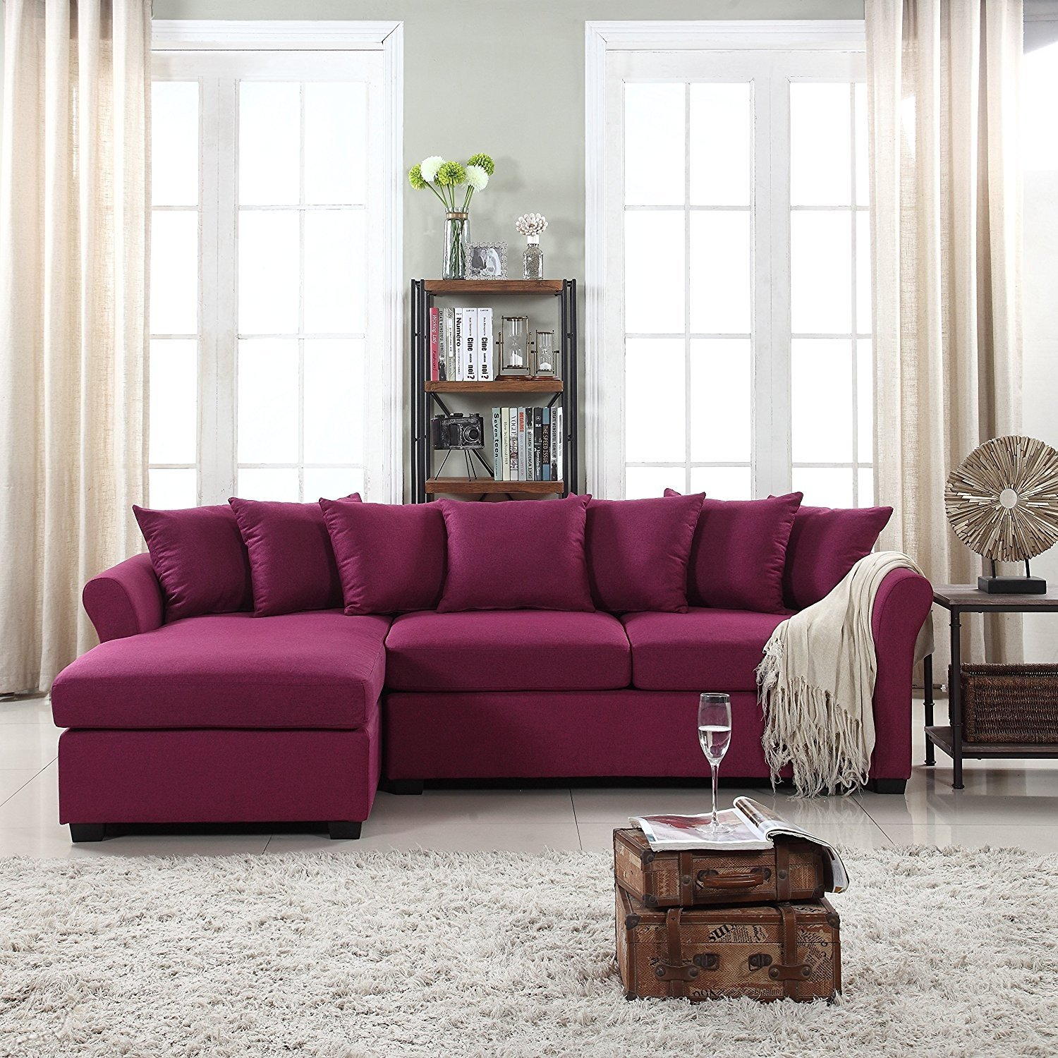 Details about Modern Large Fabric Sectional Sofa, L-Shape Couch with Wide  Chaise, Purple