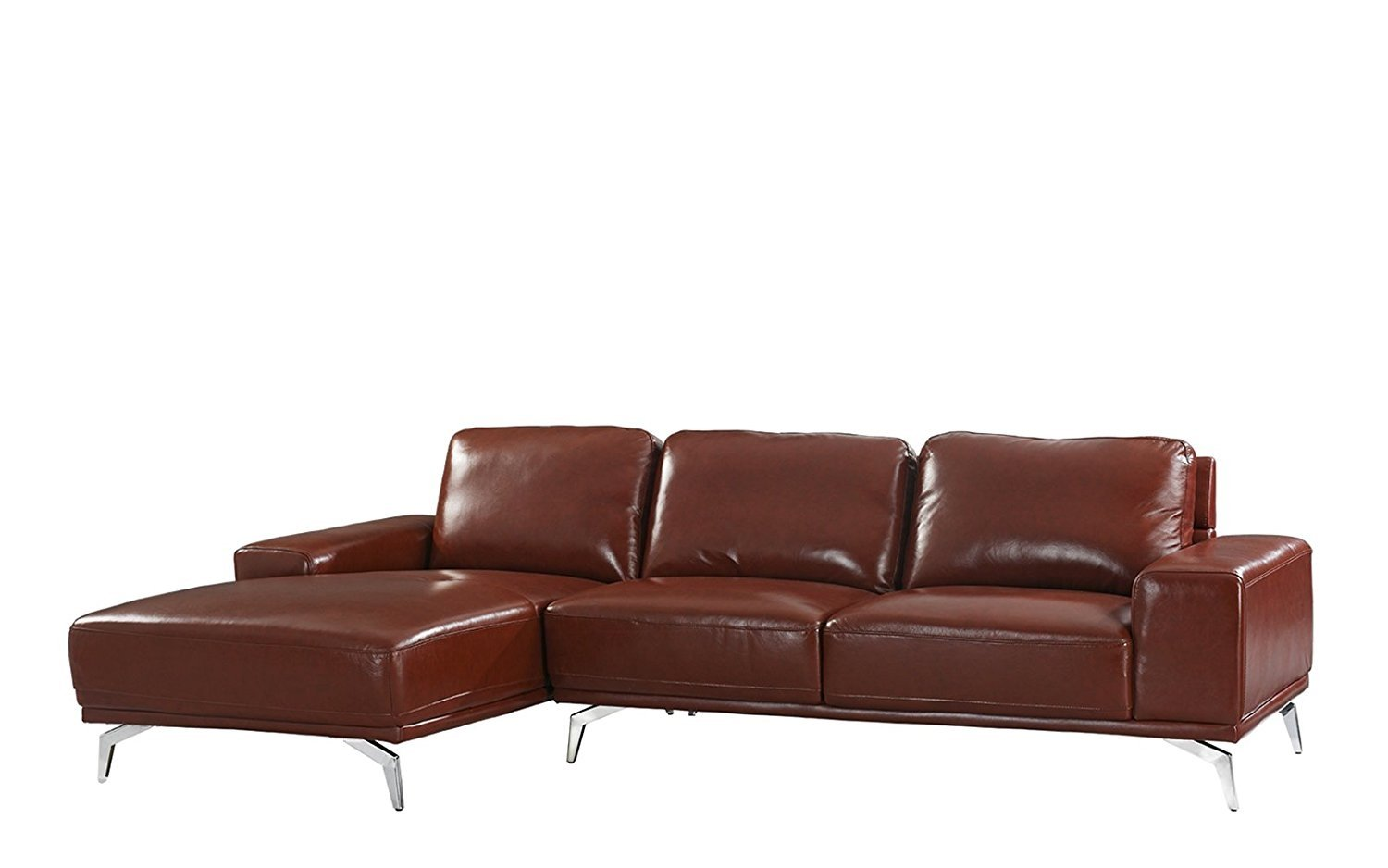 Modern Real Leather Sectional Sofa Left Facing L Shape Couch Light