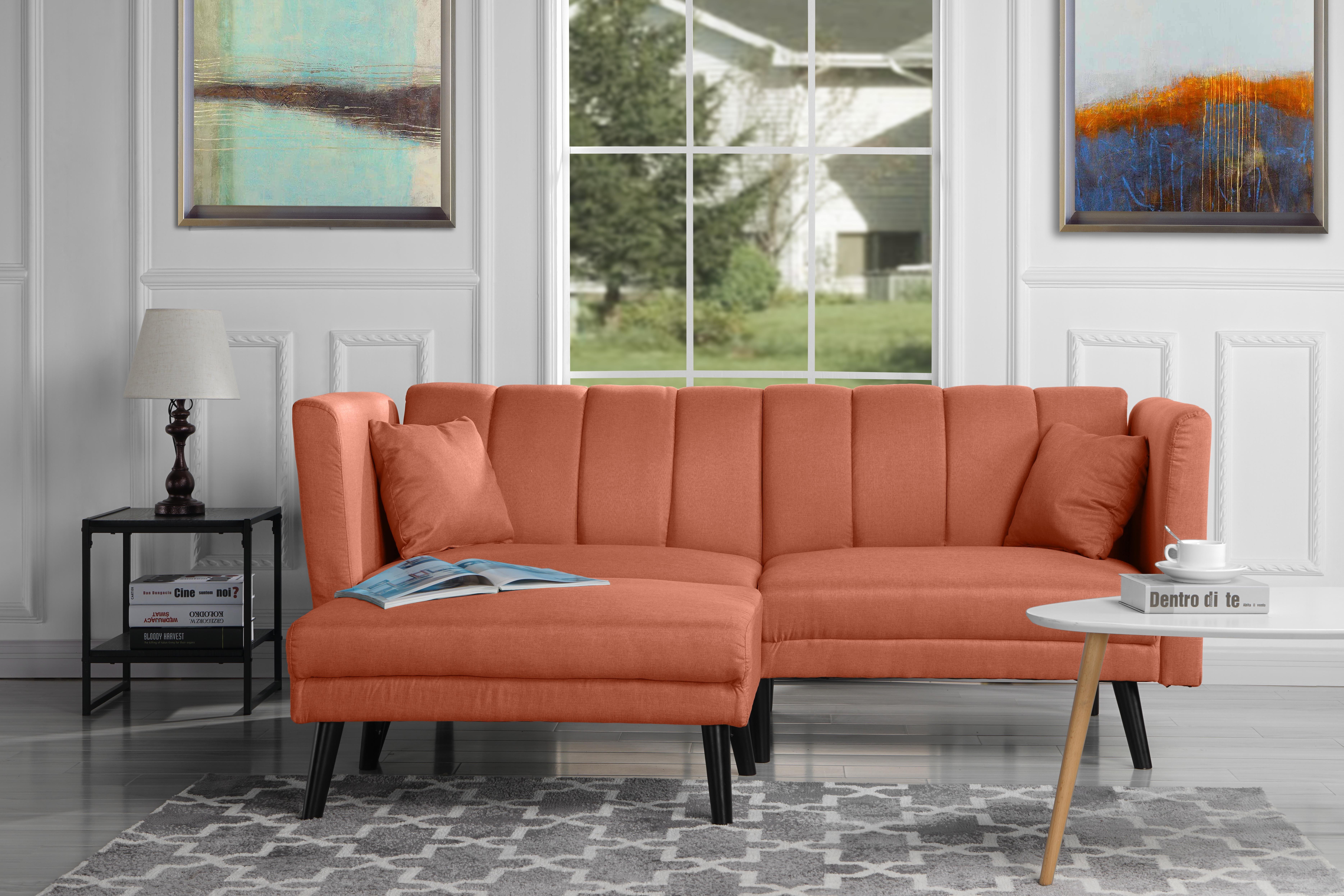 Mid Century Modern Fabric Futon Sofa Bed, Sleeper, Orange ...