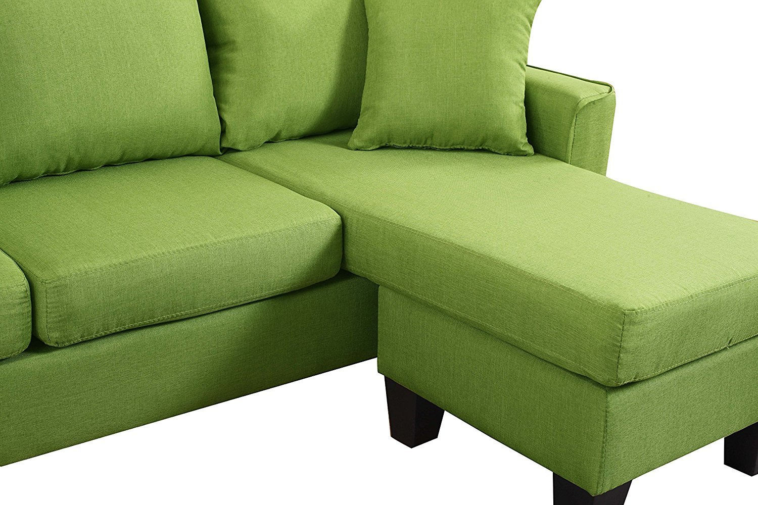 Miraculous Details About Modern Linen Fabric Small Space Sectional Sofa With Reversible Chaise Green Creativecarmelina Interior Chair Design Creativecarmelinacom