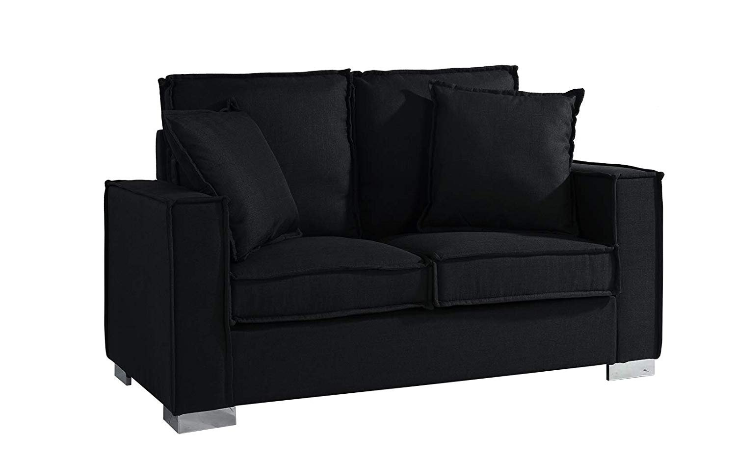 Marvelous Classic Linen Fabric Sofa, Small Space Loveseat Couch (Black)