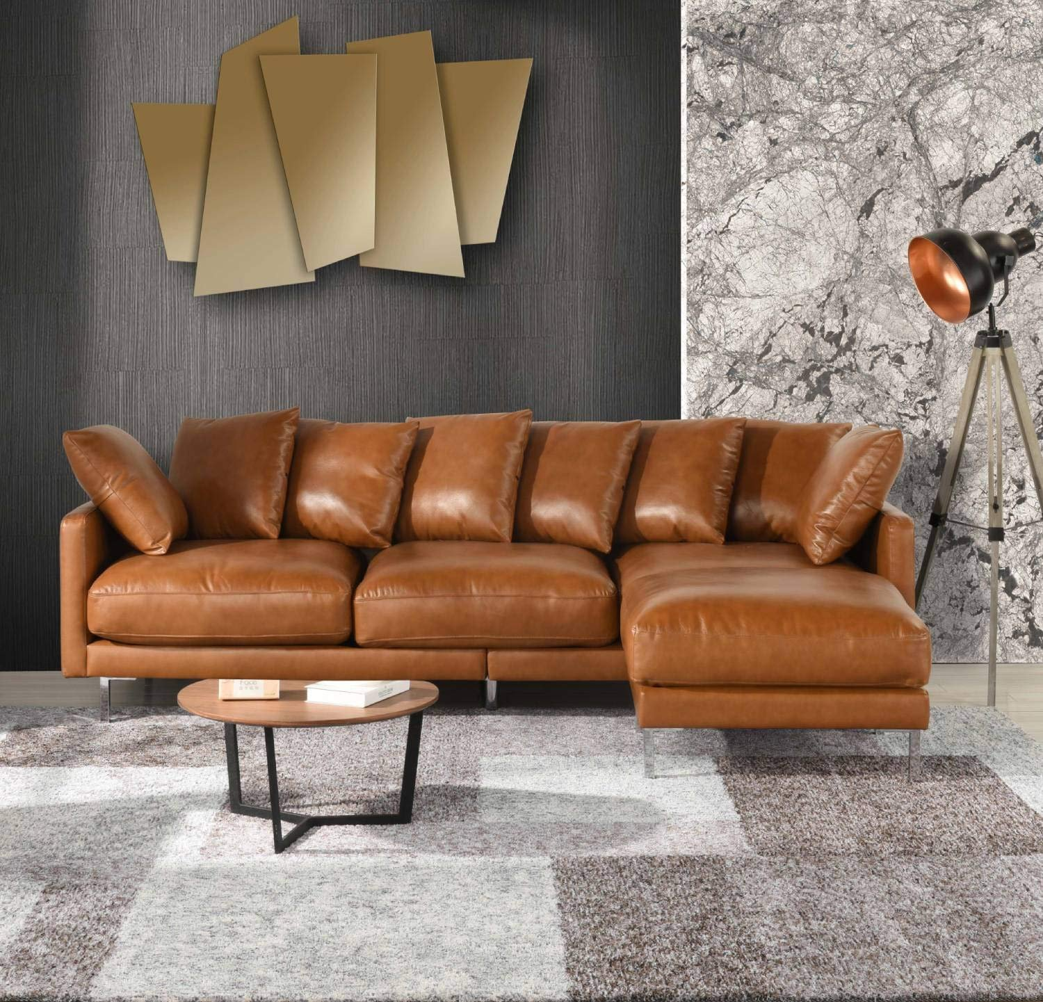 Details about Modern Home Leather Match Upholstery Sectional Sofa Chaise  Ottoman Couch, Camel