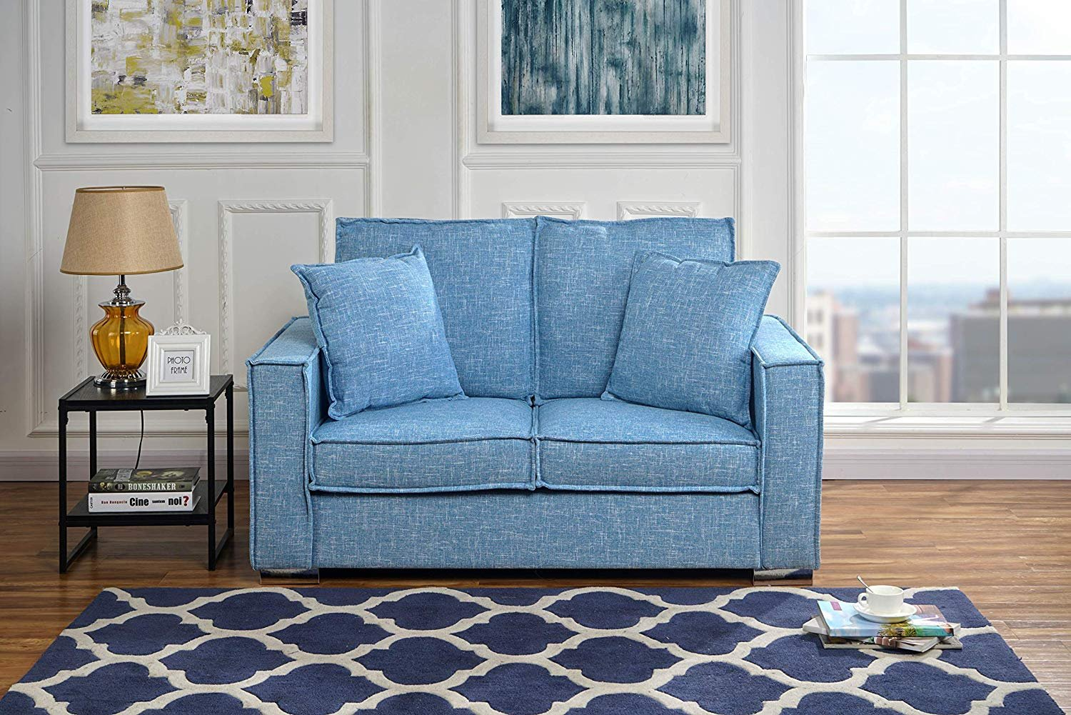 Details about Modern Loft Lounge Linen Fabric Sofa, Small Space Loveseat  Couch (Light Blue)
