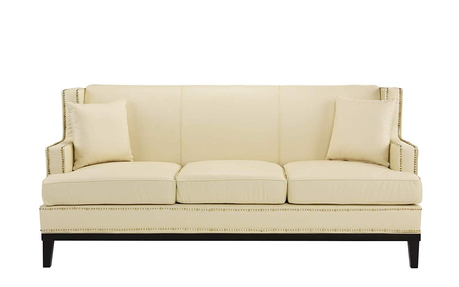 Classic Leather Sofa w/ Nailhead Trim Detail, Modern Couch (Off ...