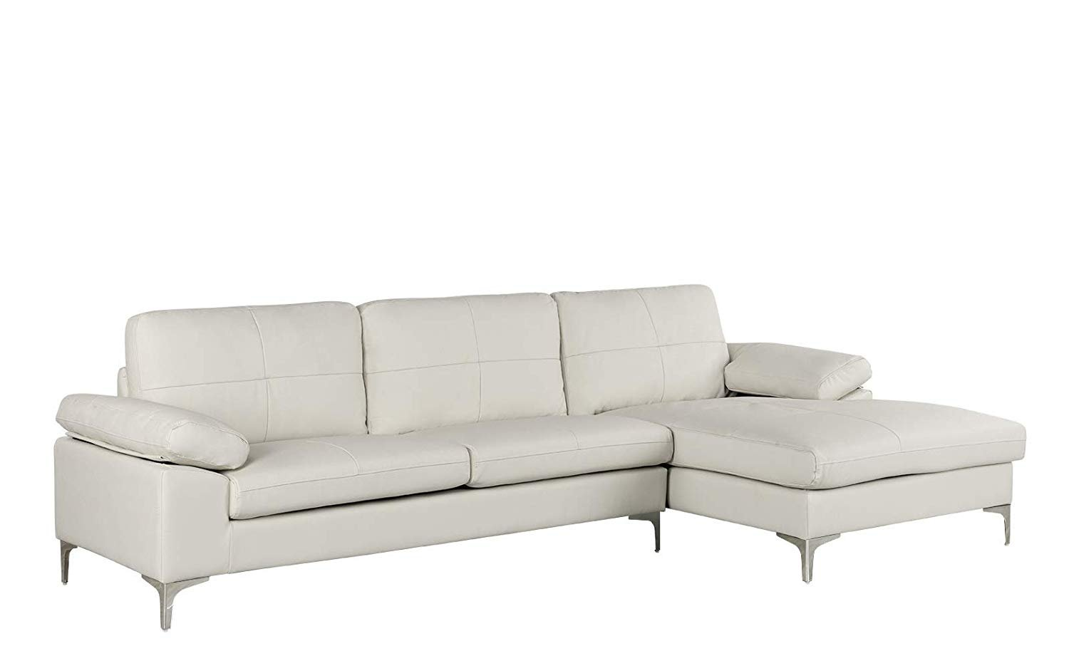 Details about Leather Sectional Sofa, L-Shape Couch with Chaise, 108.7\