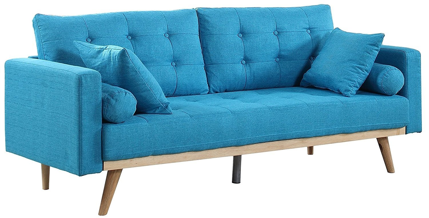 Mid-Century Wood Frame Sofa Modern Tufted Linen Fabric Couch Pillows ...