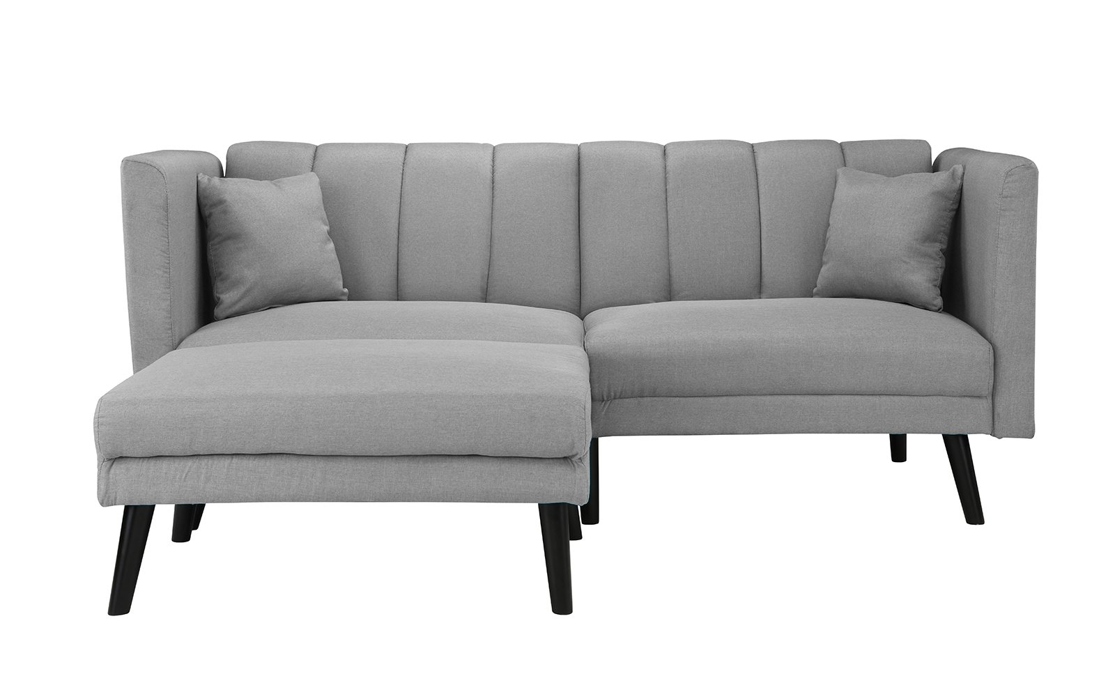 Details about Mid-Century Modern Linen Futon Sofa Bed, Classic Living Room  Couch, Light Grey