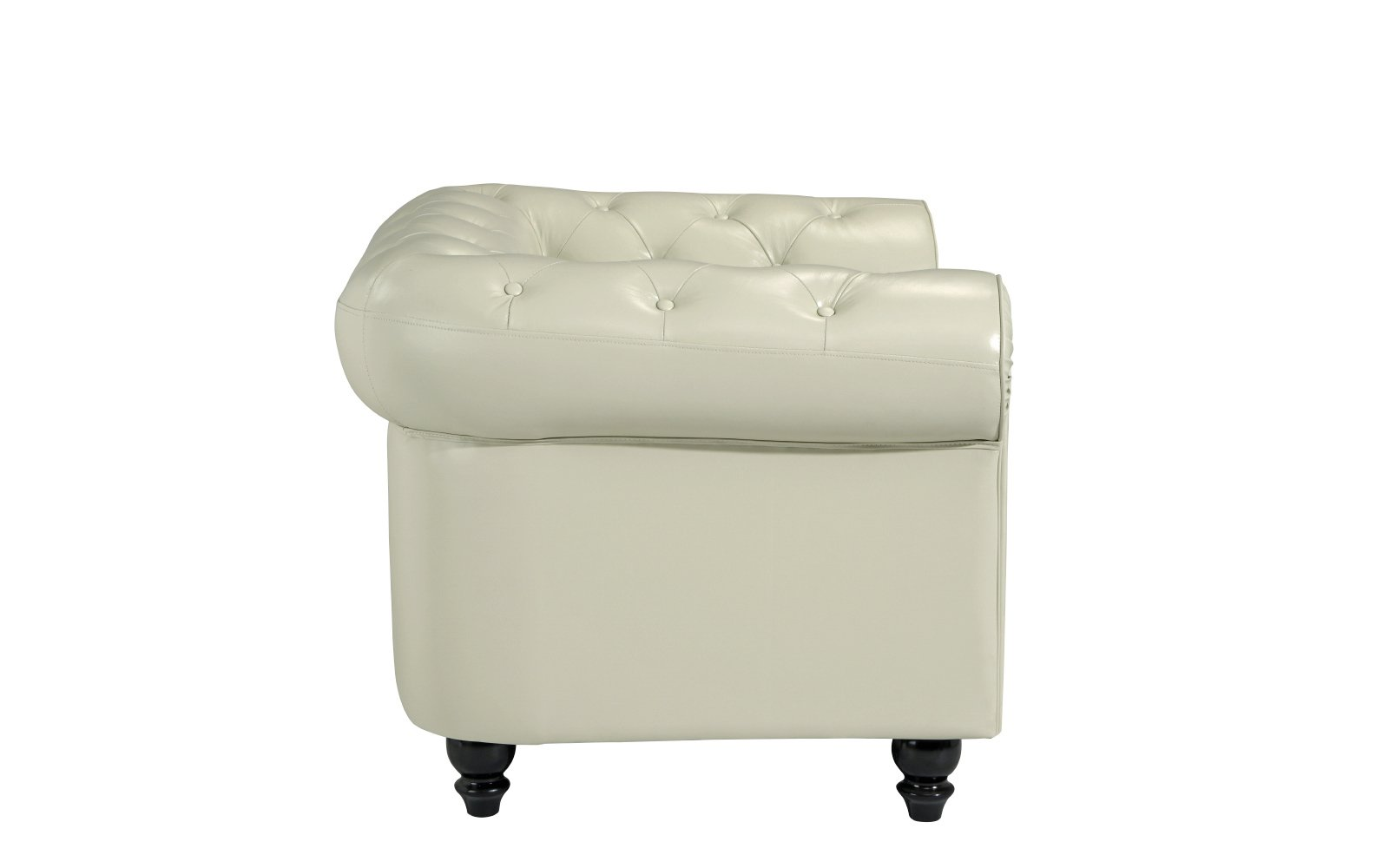 Classic Chesterfield Scroll Arm Tufted Leather Accent