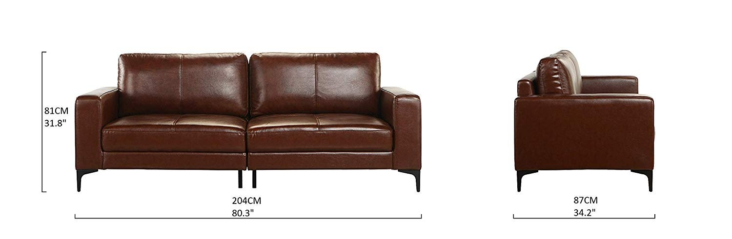 Mid Century Modern Dark Brown Upholstered Leather Match Sofa 803