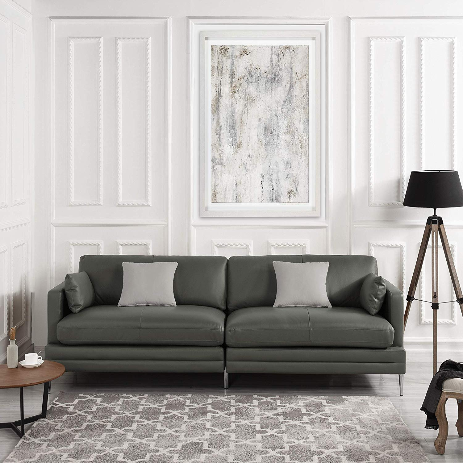 Grey Leather Match Upholstery Sofa 2