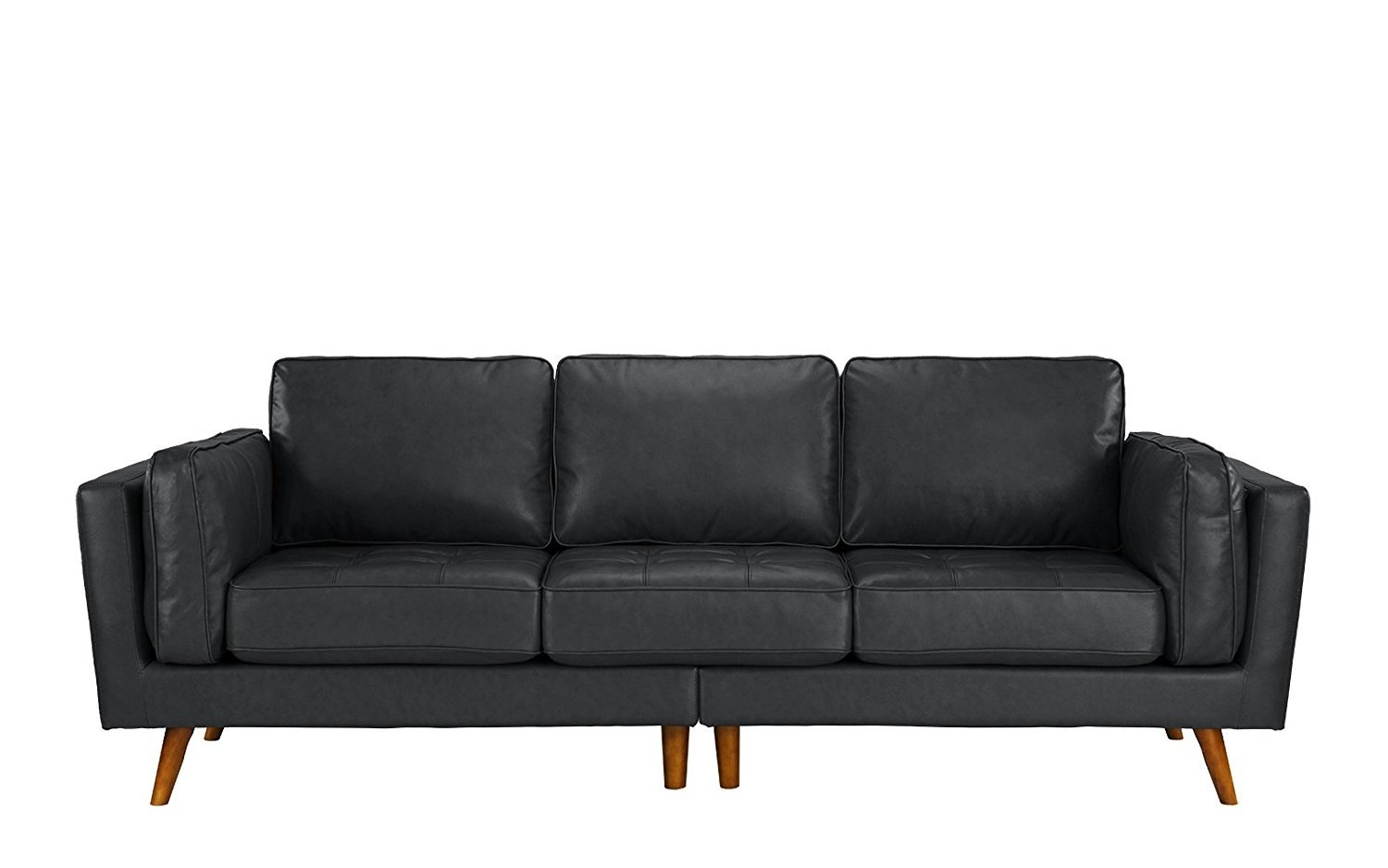 Classic Mid Century Modern Tufted Real Leather Sofa W Wooden Legs