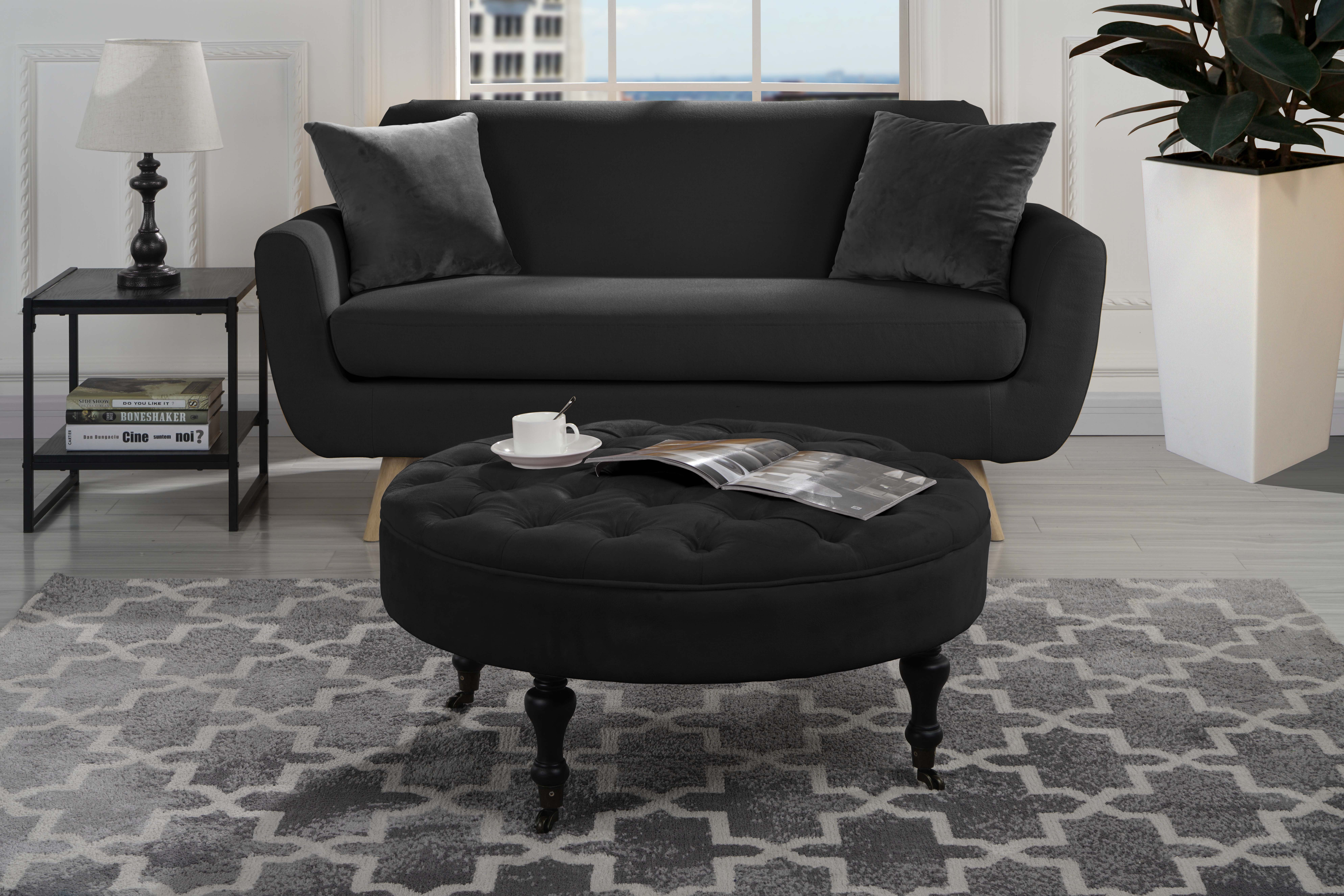 Image Is Loading Modern Round Tufted Microfiber Coffee Table W Casters