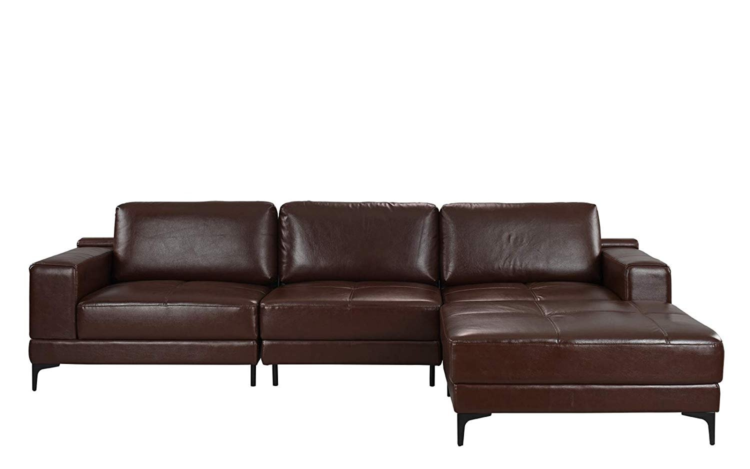 Cool Details About Modern 114 9 Inch Leather Sectional Sofa Living Room Reversible Couch Brown Bralicious Painted Fabric Chair Ideas Braliciousco