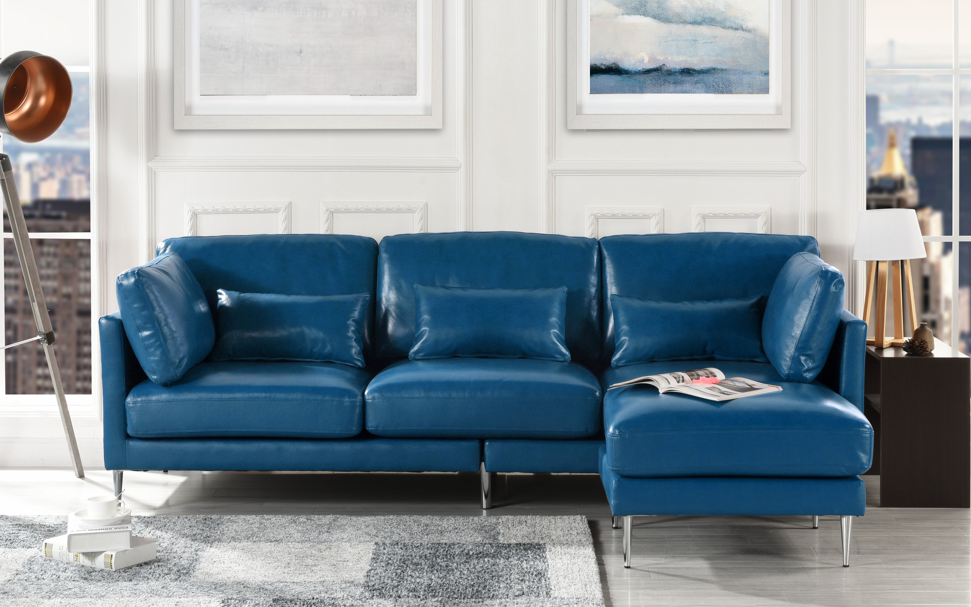 Details about Modern Leather Sectional Sofa, Contemporary PVC Leather L  Shape Couch Navy Blue