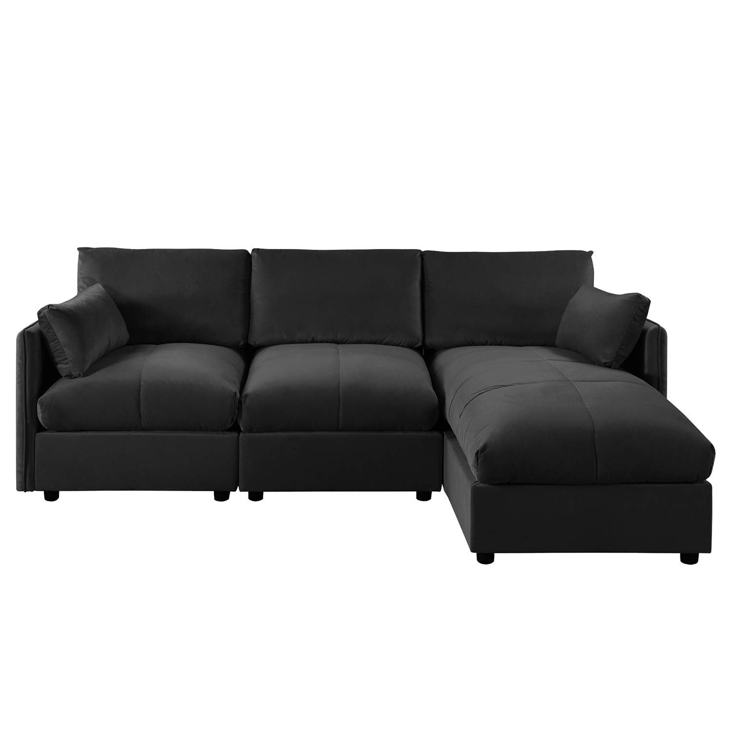 Surprising Details About Black Modern Sectional Living Room Velvet L Shape Couch Sofa Right Facing Chaise Inzonedesignstudio Interior Chair Design Inzonedesignstudiocom