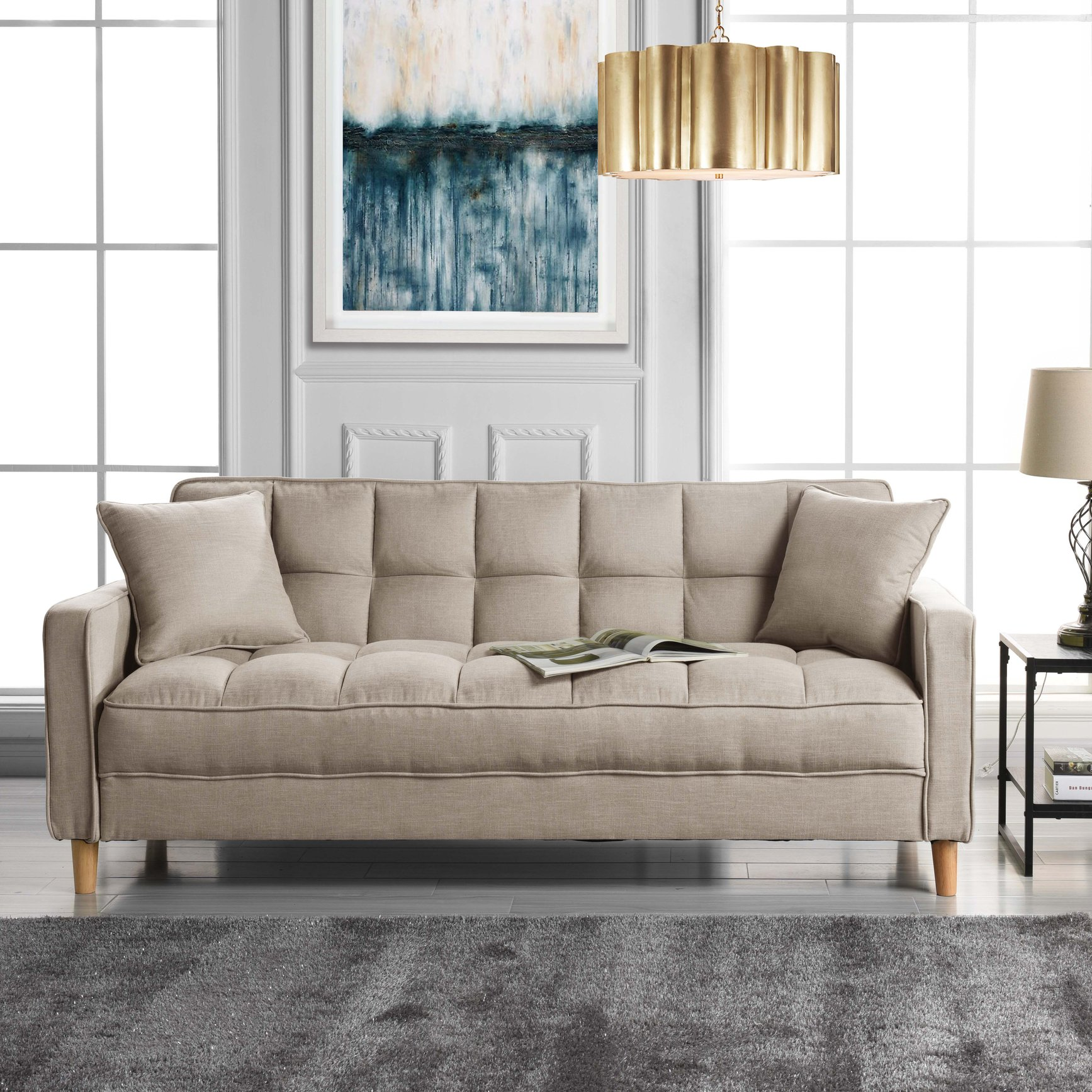 Details about Modern Small Space Living Room Sofa Linen Fabric Tufted Couch  (Beige)