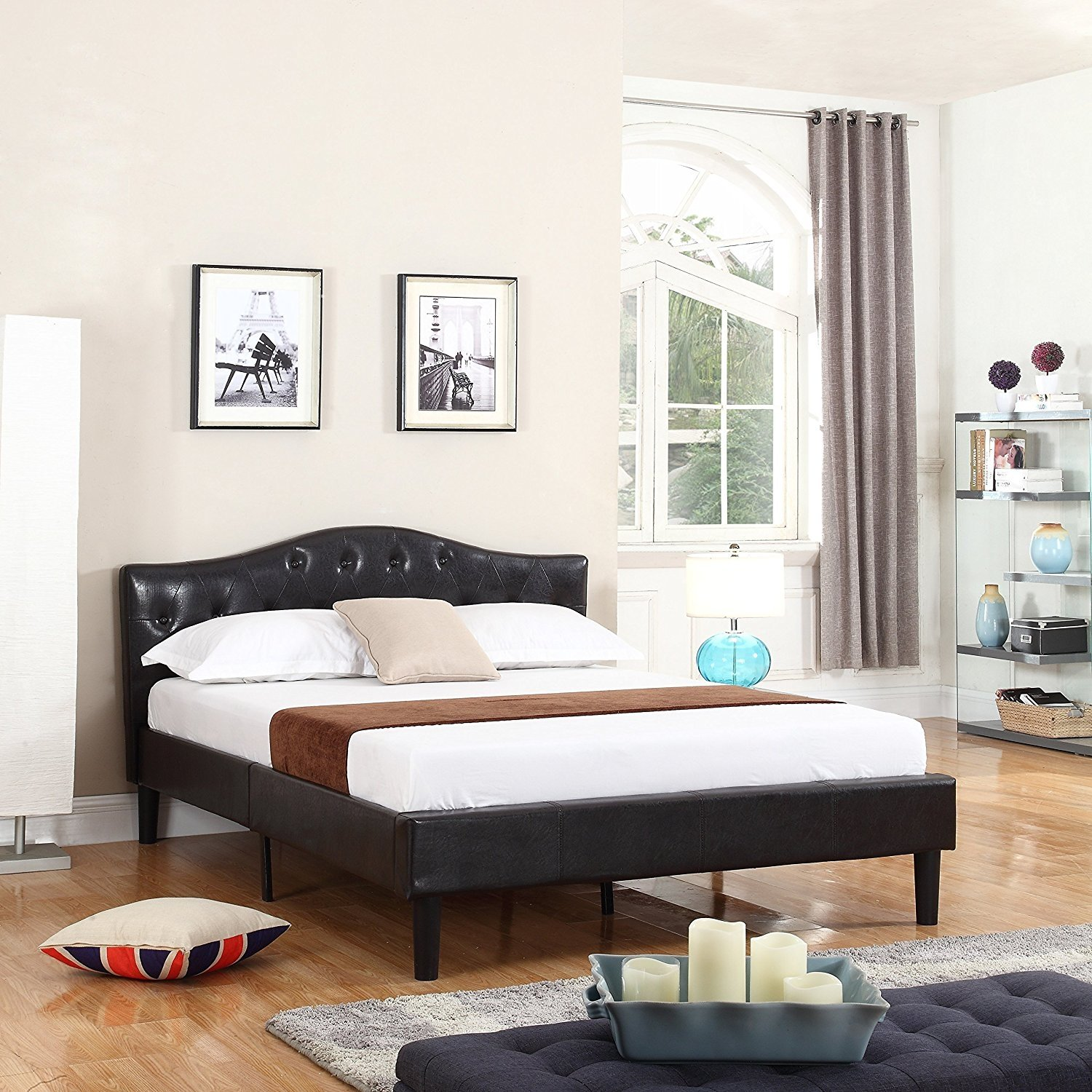 Details About Modern Contemporary Bed Frame Low Profile Bonded Leather Queen Espresso