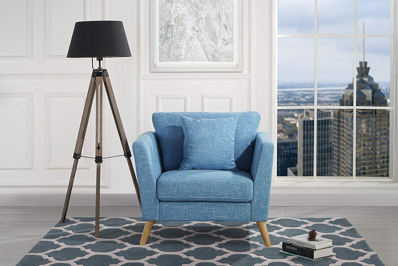 Mid-Century Accent Chair Modern Linen Fabric Armchair ...