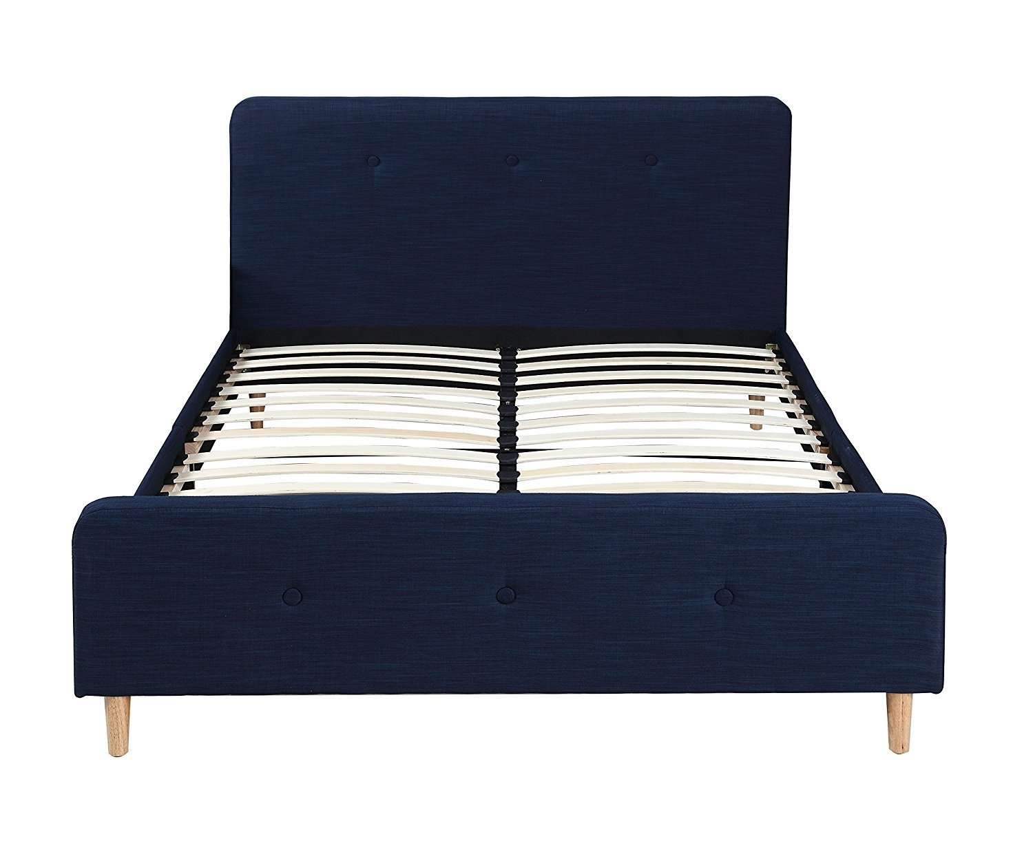 Details About Mid Century Modern Linen Fabric Low Profile Bed Frame Full Size Blue