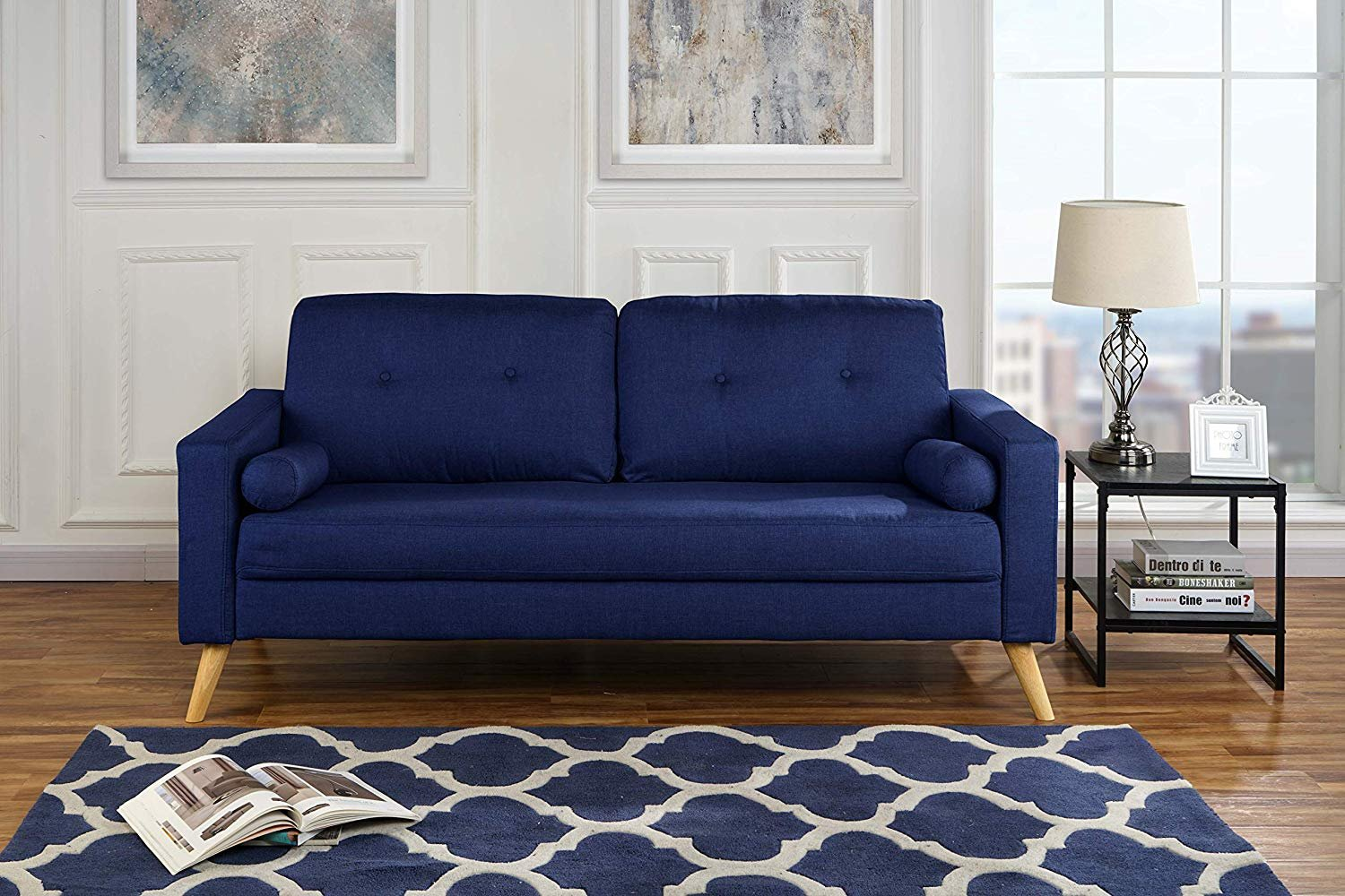 Details about modern living room fabric sofa lounge room couch with tufted buttons dark blue