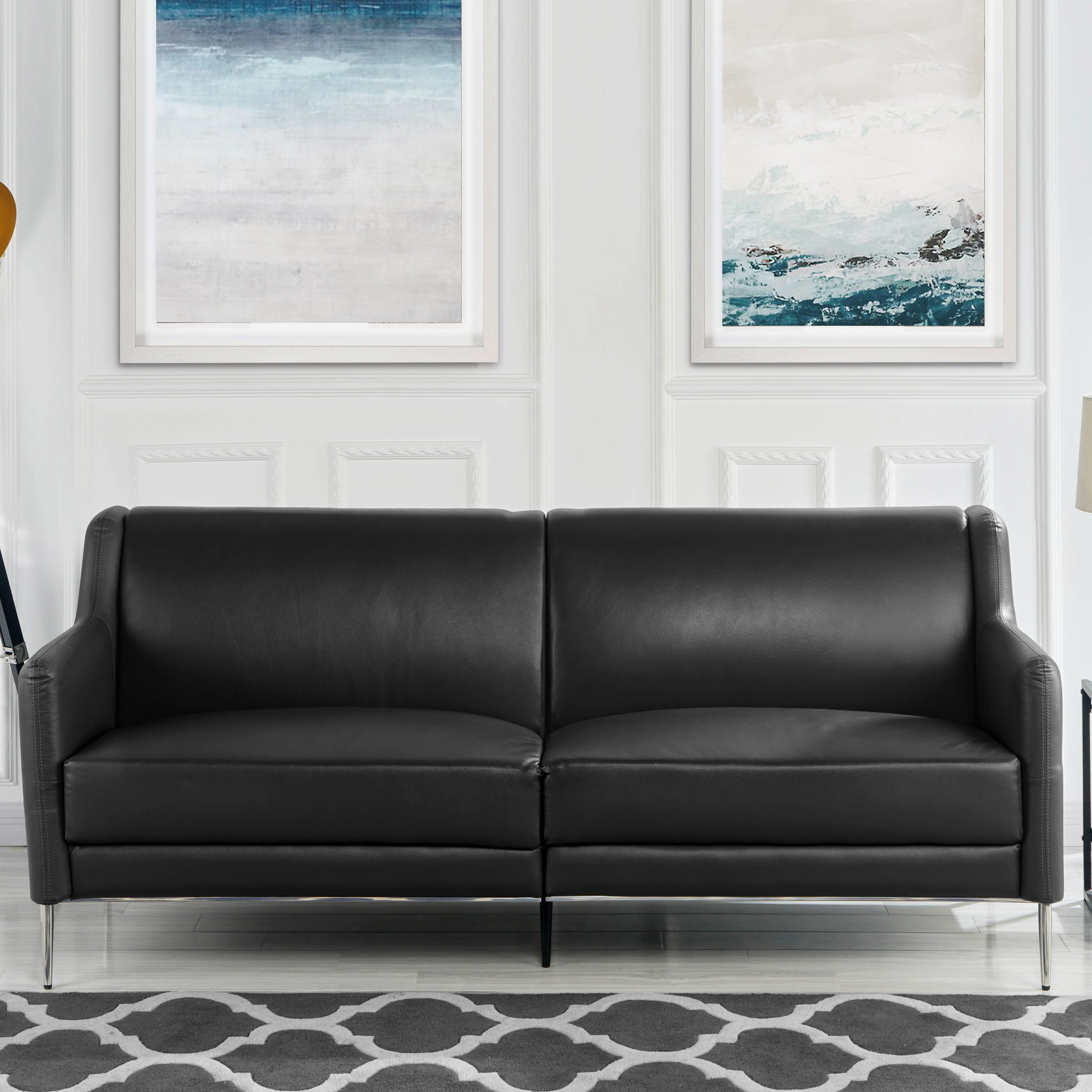 Details About Mid Century Style Leather Sofa 77 1 Inches Sleek Living Room Couch Black