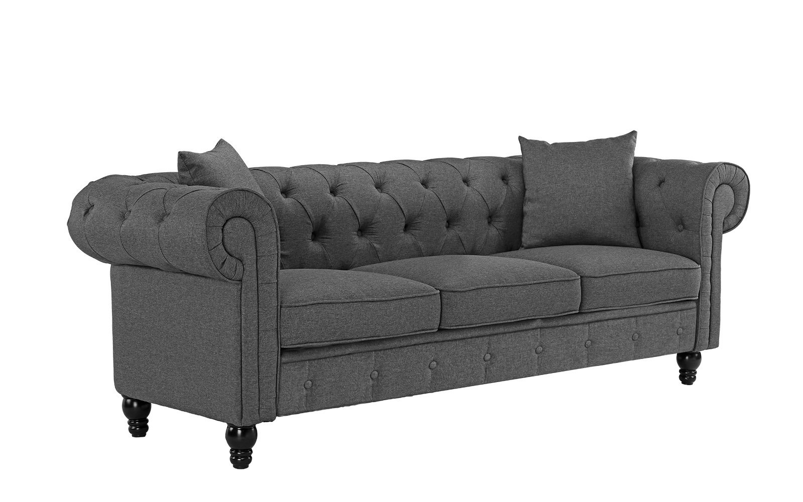 Classic Fabric Sofa Scroll Arm Tufted Button Chesterfield Couch Light Grey